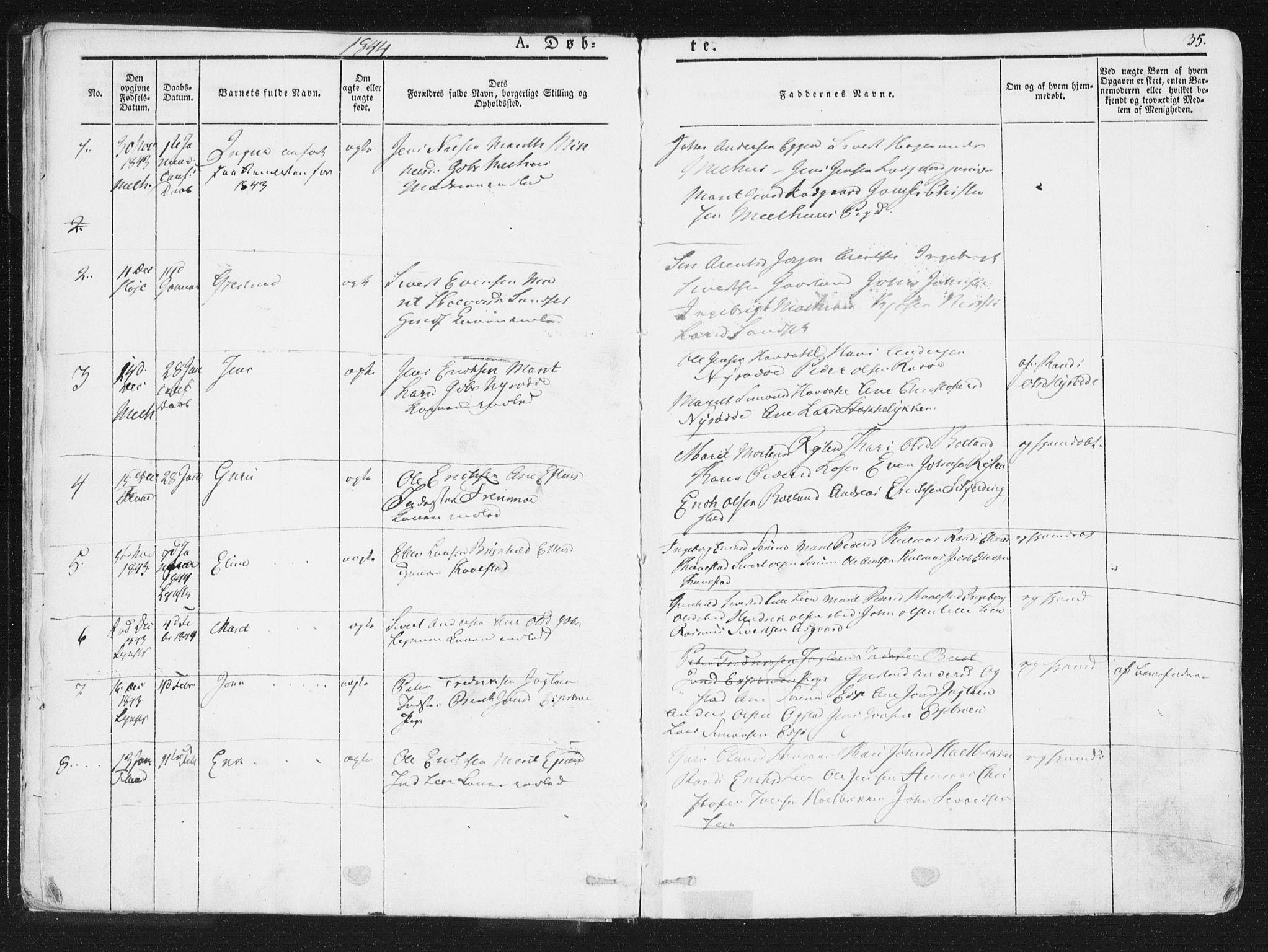 SAT, Ministerialprotokoller, klokkerbøker og fødselsregistre - Sør-Trøndelag, 691/L1074: Ministerialbok nr. 691A06, 1842-1852, s. 35