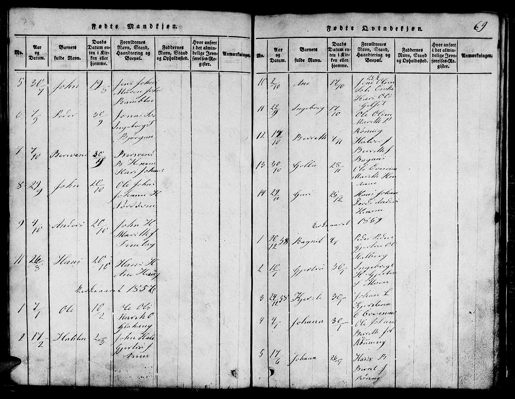 SAT, Ministerialprotokoller, klokkerbøker og fødselsregistre - Sør-Trøndelag, 685/L0976: Klokkerbok nr. 685C01, 1817-1878, s. 69