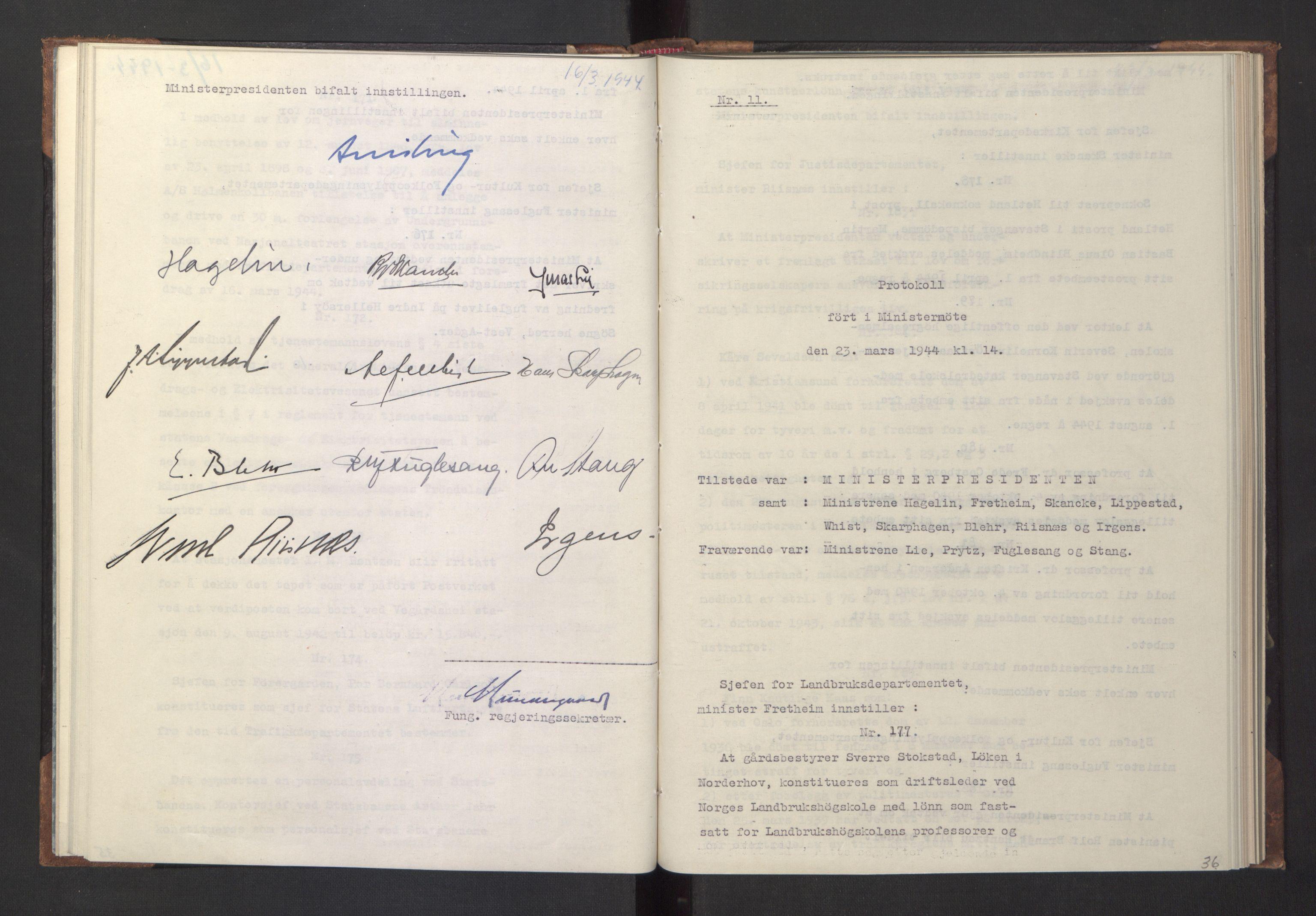 RA, NS-administrasjonen 1940-1945 (Statsrådsekretariatet, de kommisariske statsråder mm), D/Da/L0005: Protokoll fra ministermøter, 1944, s. 35b-36a