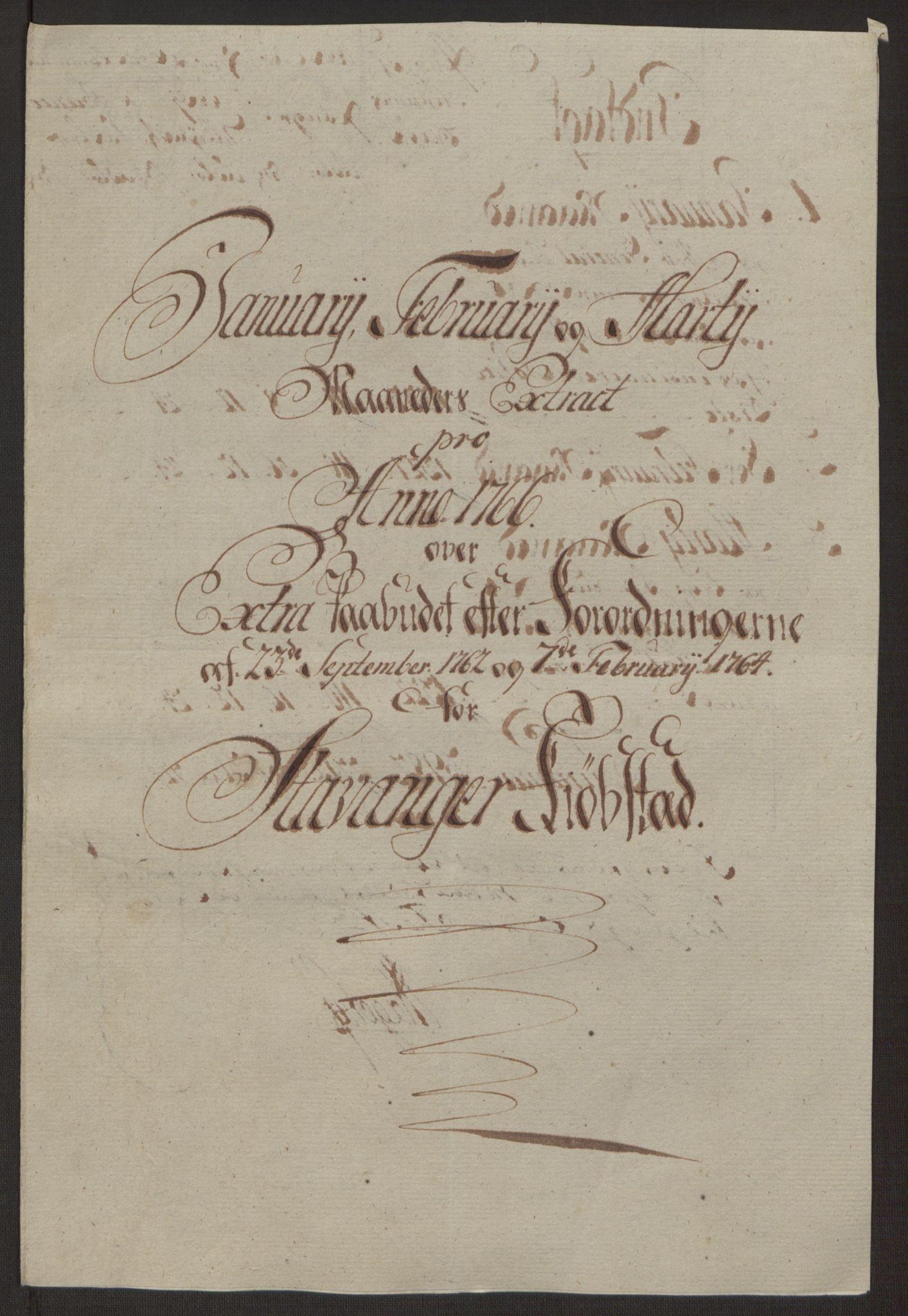 RA, Rentekammeret inntil 1814, Reviderte regnskaper, Byregnskaper, R/Ro/L0305: [O6] Kontribusjonsregnskap, 1762-1768, s. 181