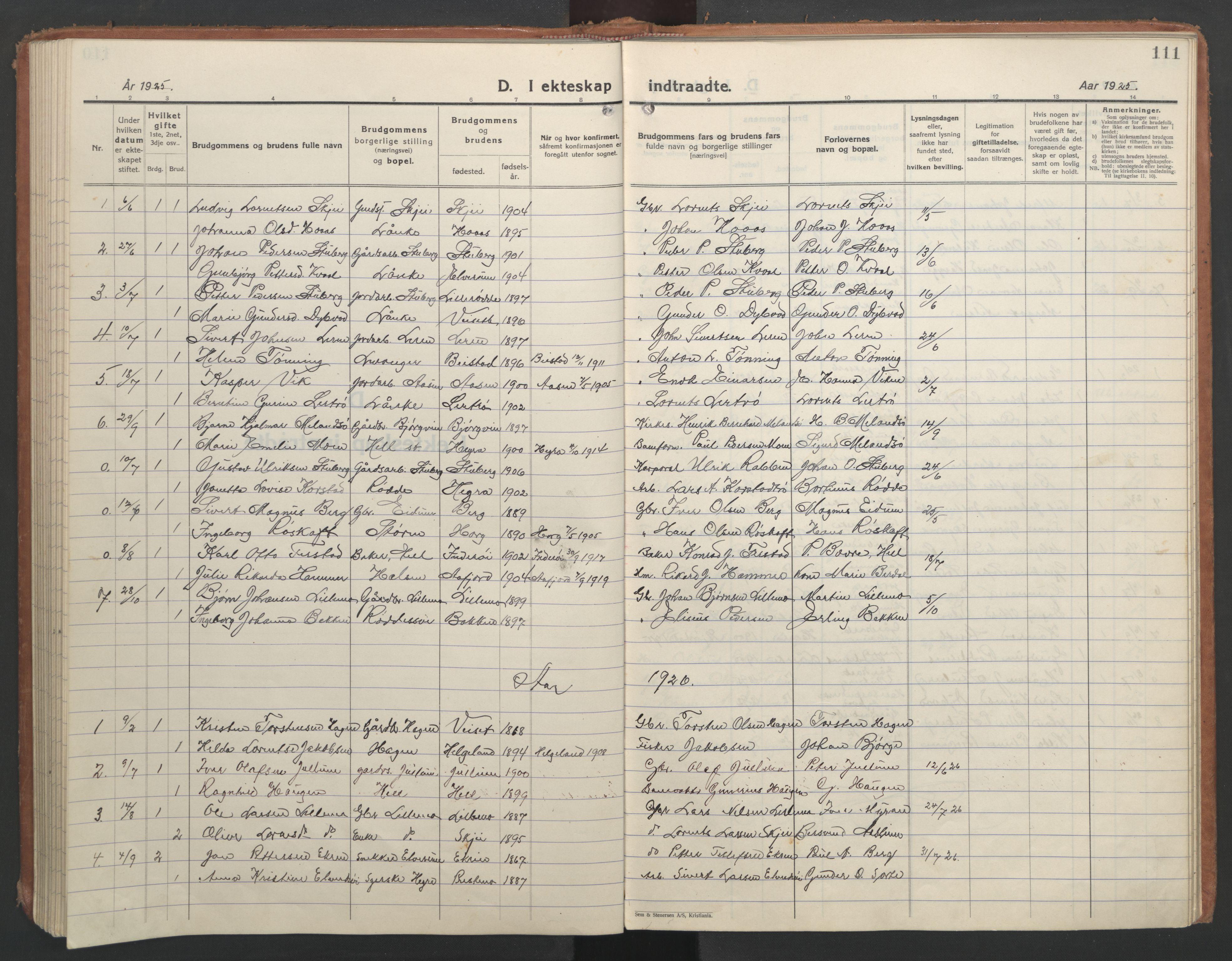 SAT, Ministerialprotokoller, klokkerbøker og fødselsregistre - Nord-Trøndelag, 710/L0097: Klokkerbok nr. 710C02, 1925-1955, s. 111