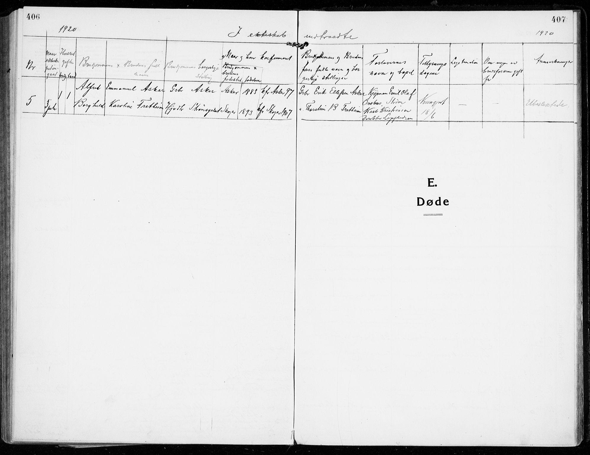 SAKO, Strømsgodset kirkebøker, F/Fa/L0002: Ministerialbok nr. 2, 1910-1920, s. 406-407