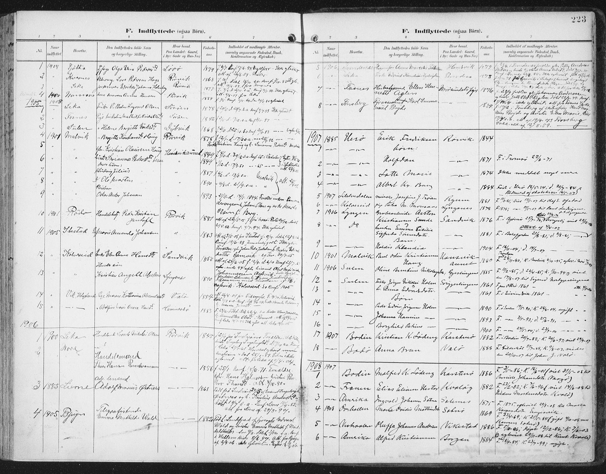 SAT, Ministerialprotokoller, klokkerbøker og fødselsregistre - Nord-Trøndelag, 786/L0688: Ministerialbok nr. 786A04, 1899-1912, s. 223