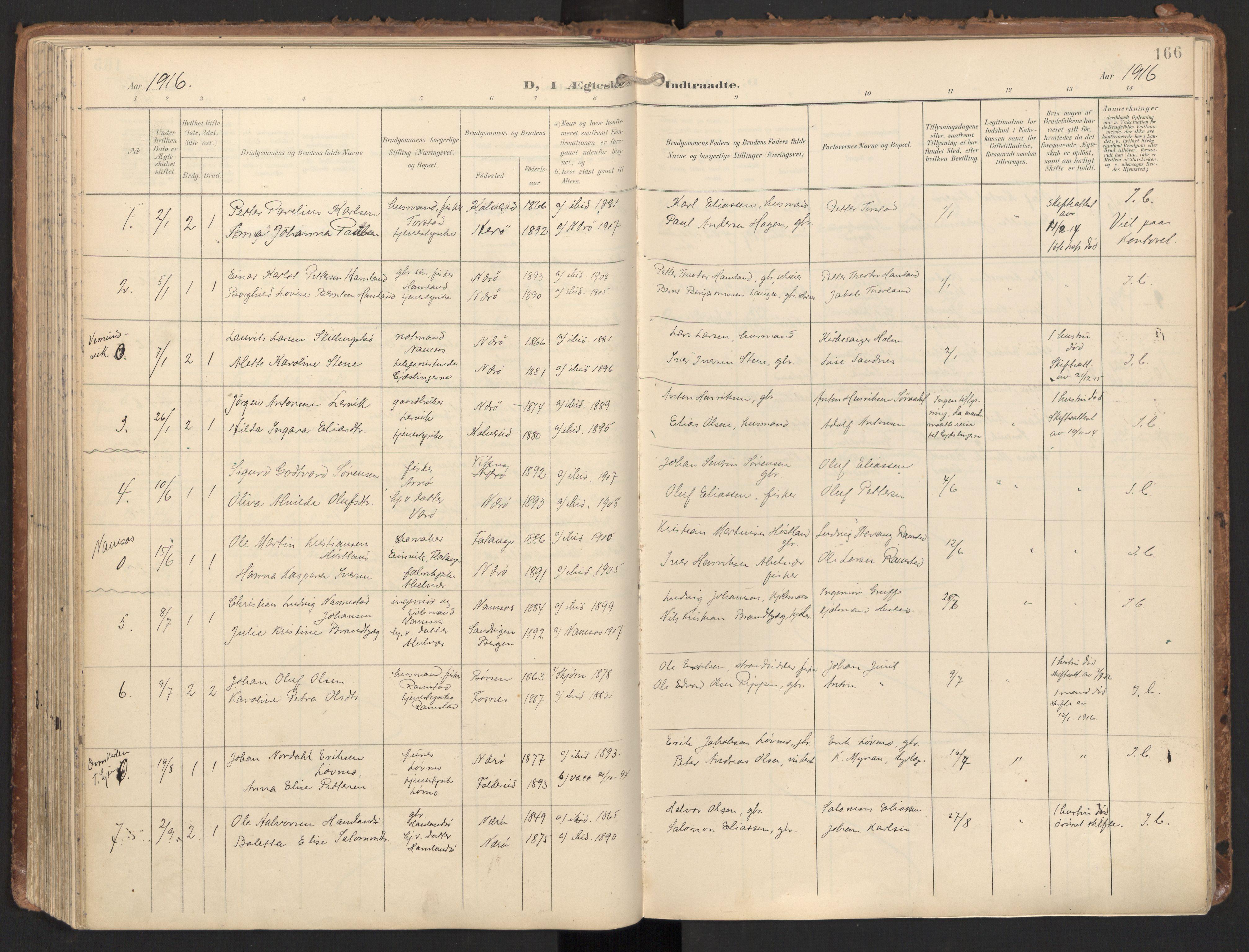 SAT, Ministerialprotokoller, klokkerbøker og fødselsregistre - Nord-Trøndelag, 784/L0677: Ministerialbok nr. 784A12, 1900-1920, s. 166