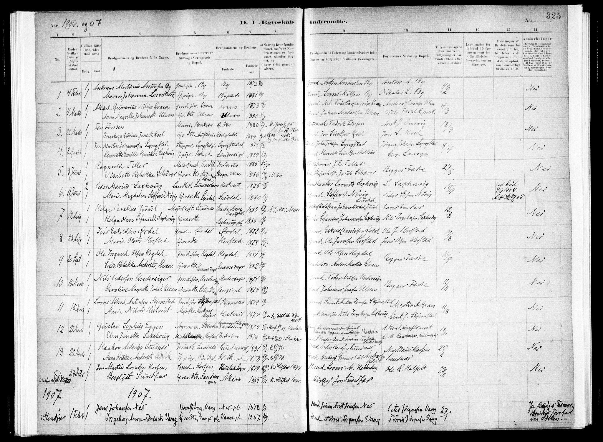 SAT, Ministerialprotokoller, klokkerbøker og fødselsregistre - Nord-Trøndelag, 730/L0285: Ministerialbok nr. 730A10, 1879-1914, s. 325