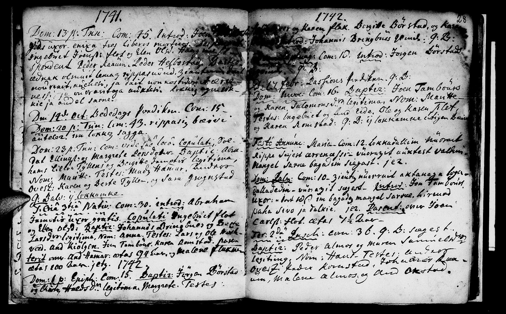 SAT, Ministerialprotokoller, klokkerbøker og fødselsregistre - Nord-Trøndelag, 765/L0560: Ministerialbok nr. 765A01, 1706-1748, s. 28