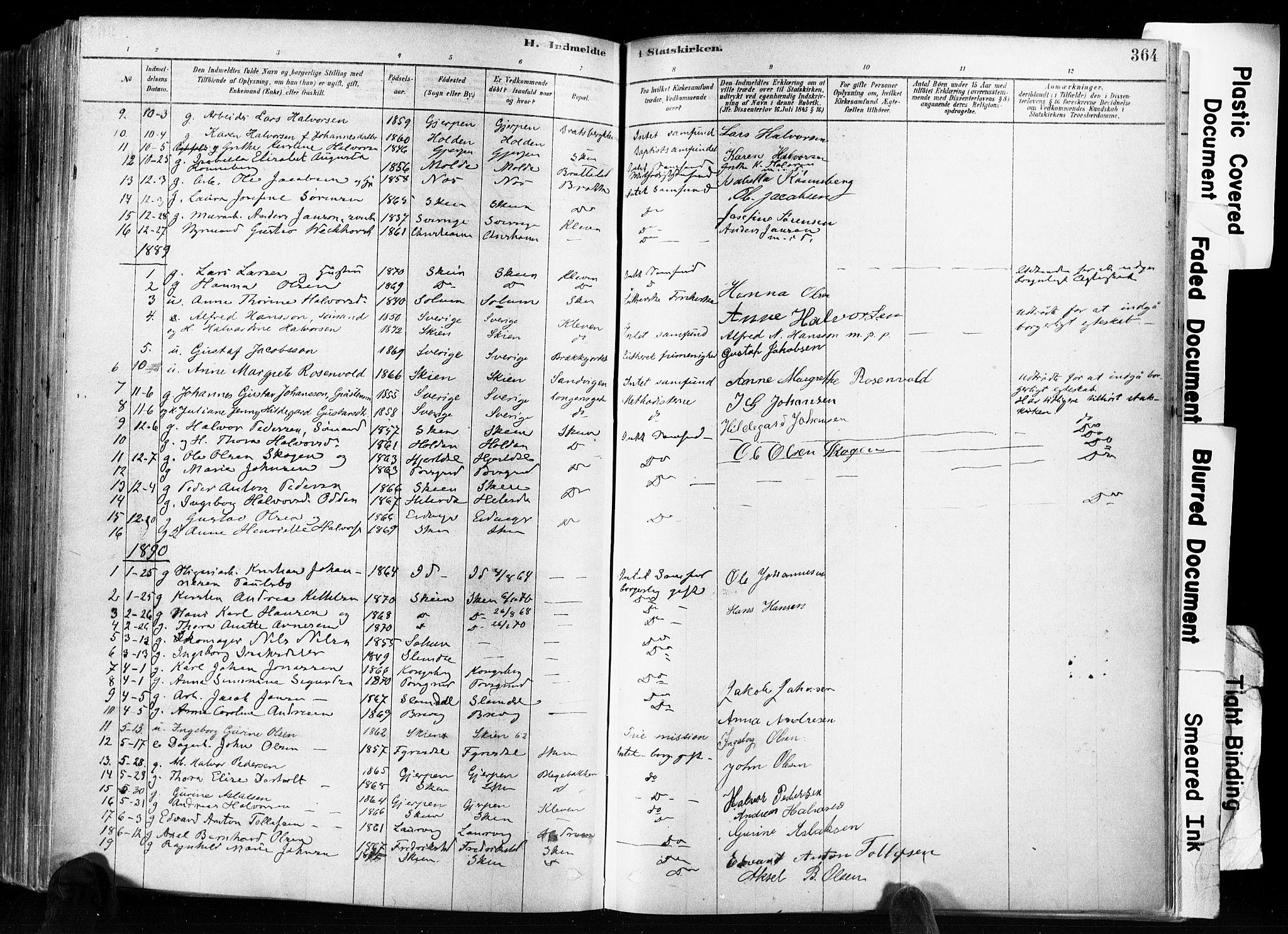SAKO, Skien kirkebøker, F/Fa/L0009: Ministerialbok nr. 9, 1878-1890, s. 364