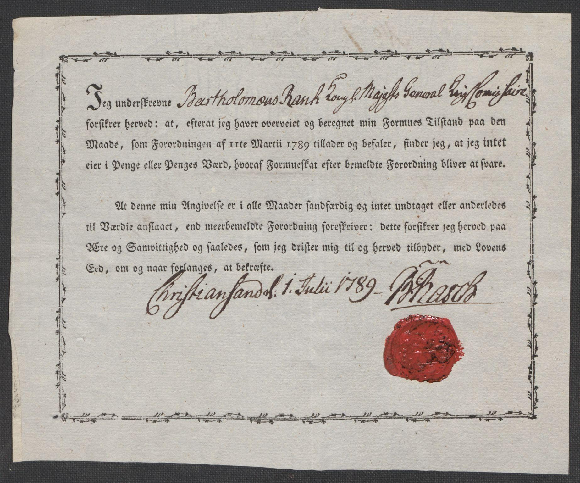 RA, Rentekammeret inntil 1814, Reviderte regnskaper, Mindre regnskaper, Rf/Rfe/L0008: Kristiansand. Kristiansund. Fredrikshald (Halden), 1789, s. 3