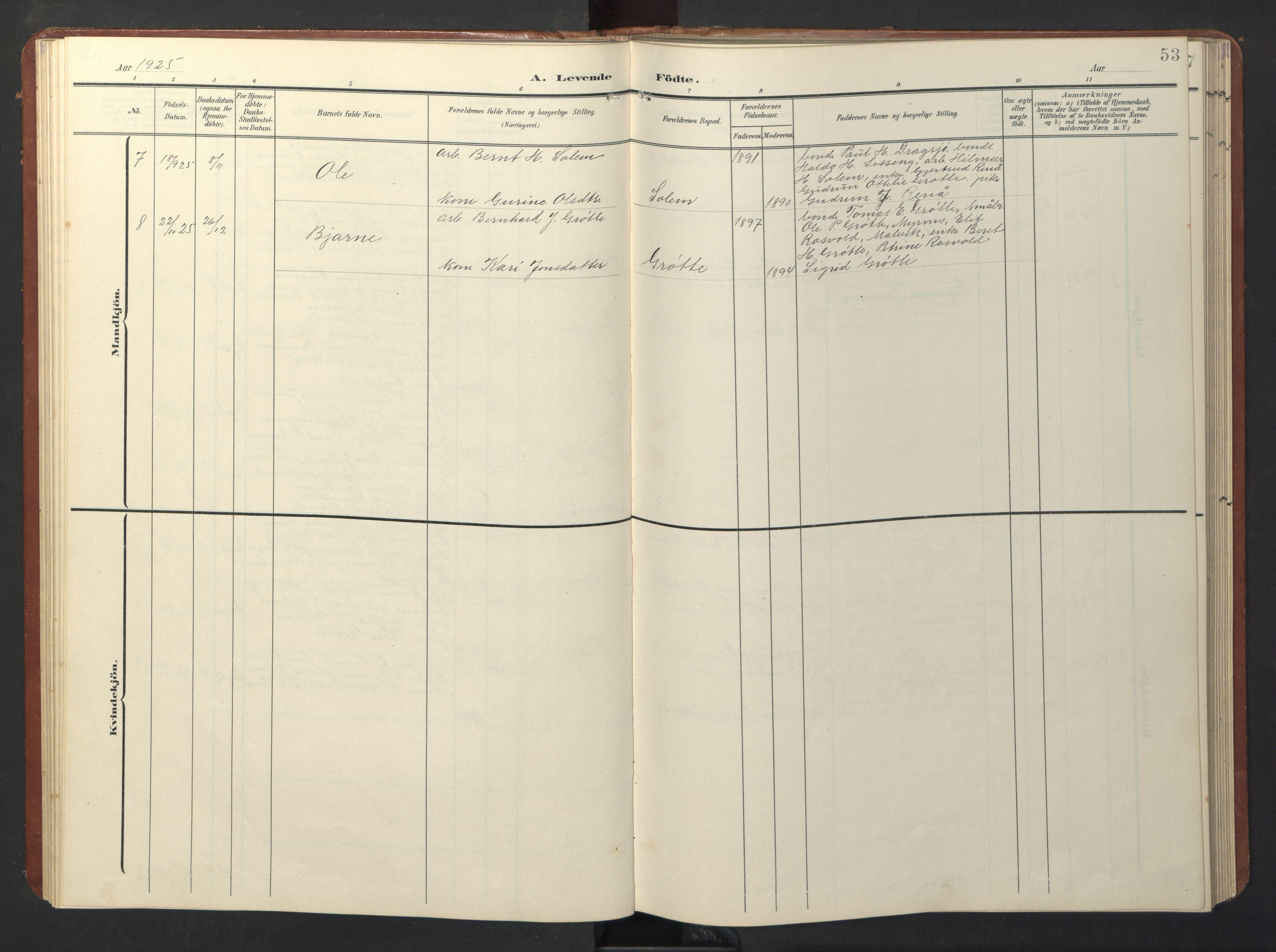 SAT, Ministerialprotokoller, klokkerbøker og fødselsregistre - Sør-Trøndelag, 696/L1161: Klokkerbok nr. 696C01, 1902-1950, s. 53