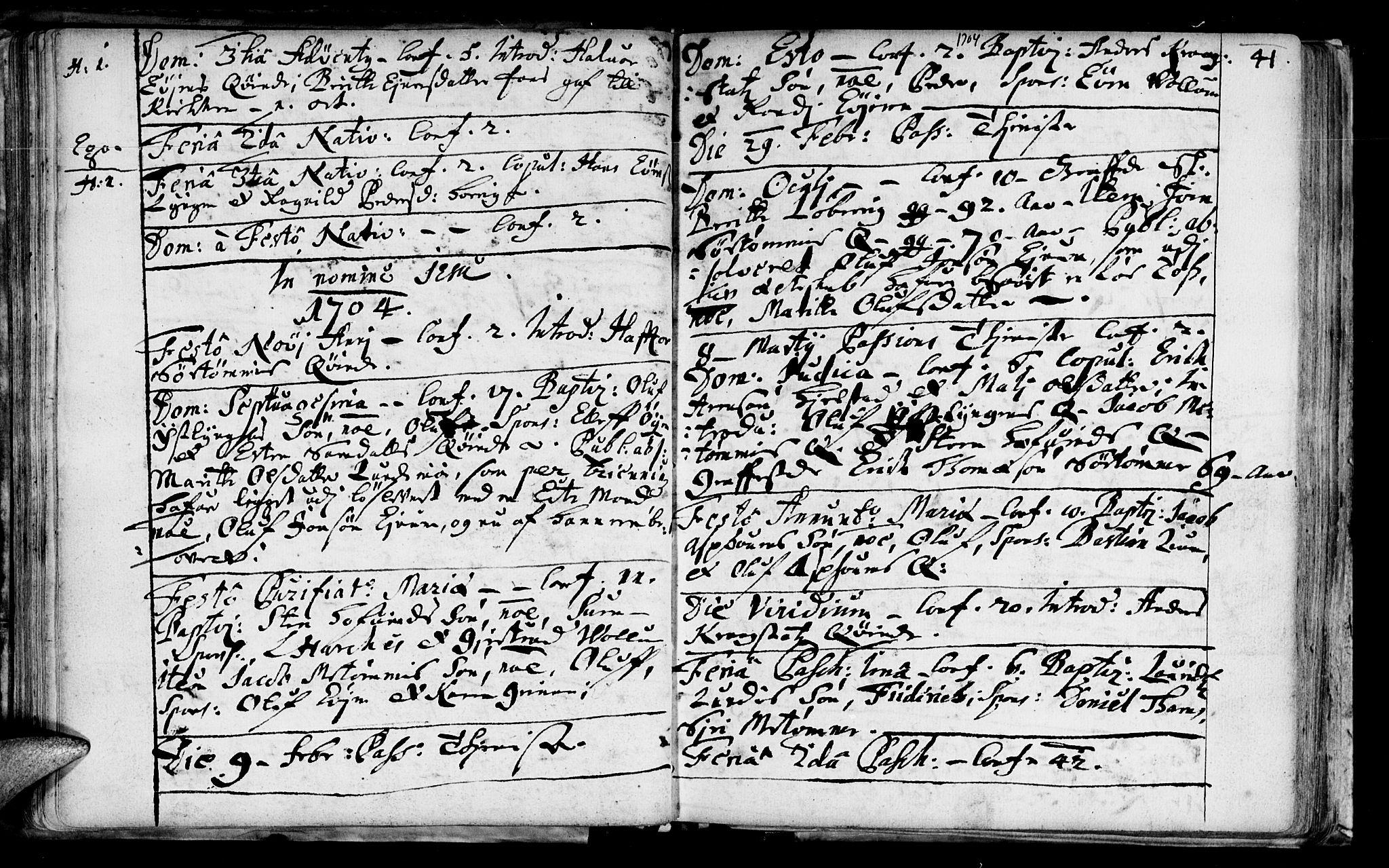 SAT, Ministerialprotokoller, klokkerbøker og fødselsregistre - Sør-Trøndelag, 692/L1101: Ministerialbok nr. 692A01, 1690-1746, s. 41