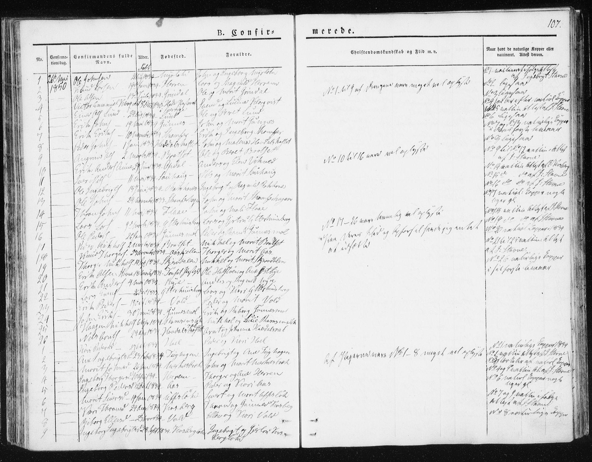 SAT, Ministerialprotokoller, klokkerbøker og fødselsregistre - Sør-Trøndelag, 674/L0869: Ministerialbok nr. 674A01, 1829-1860, s. 107