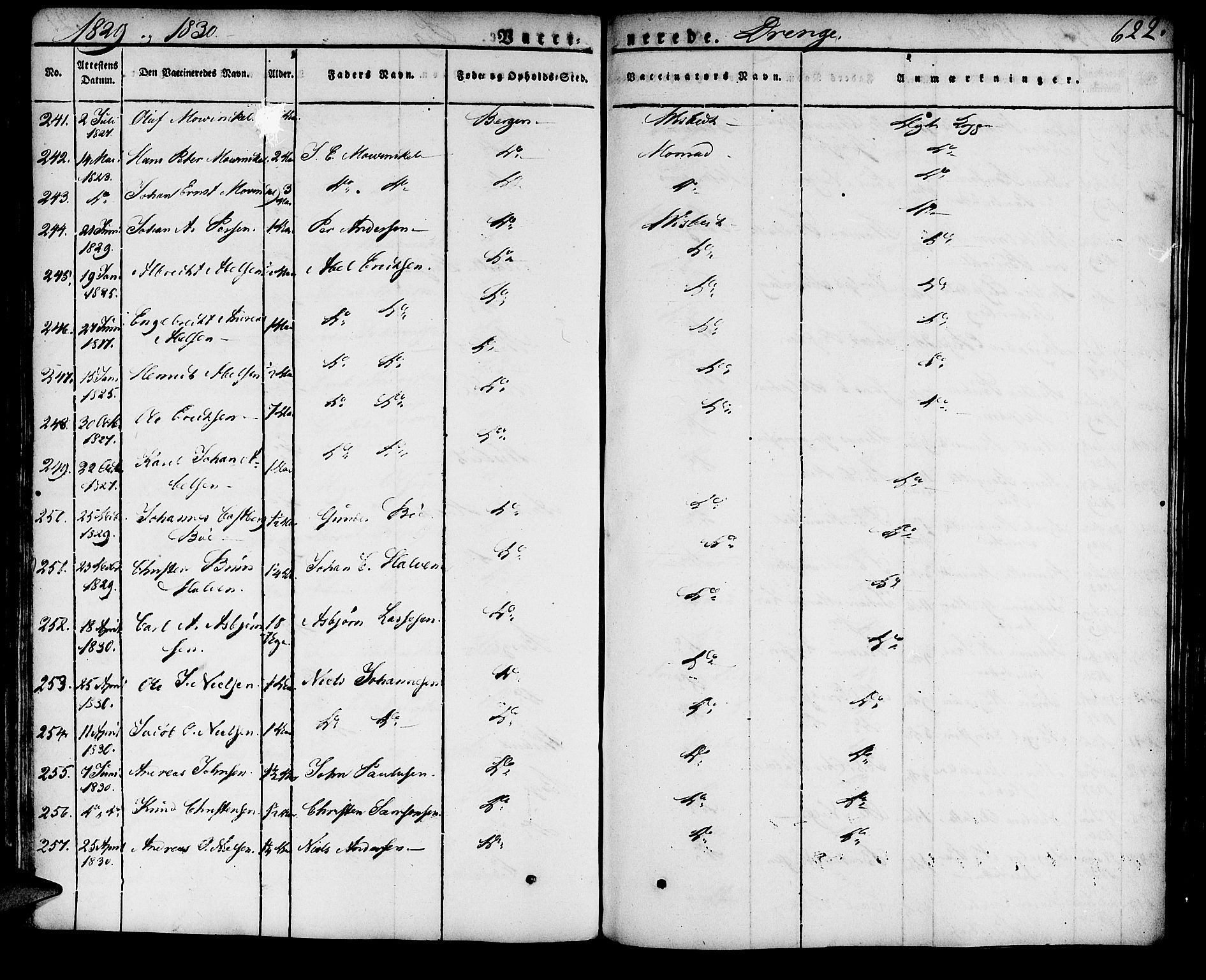 SAB, Domkirken Sokneprestembete, H/Haa/L0012: Ministerialbok nr. A 12, 1821-1840, s. 622