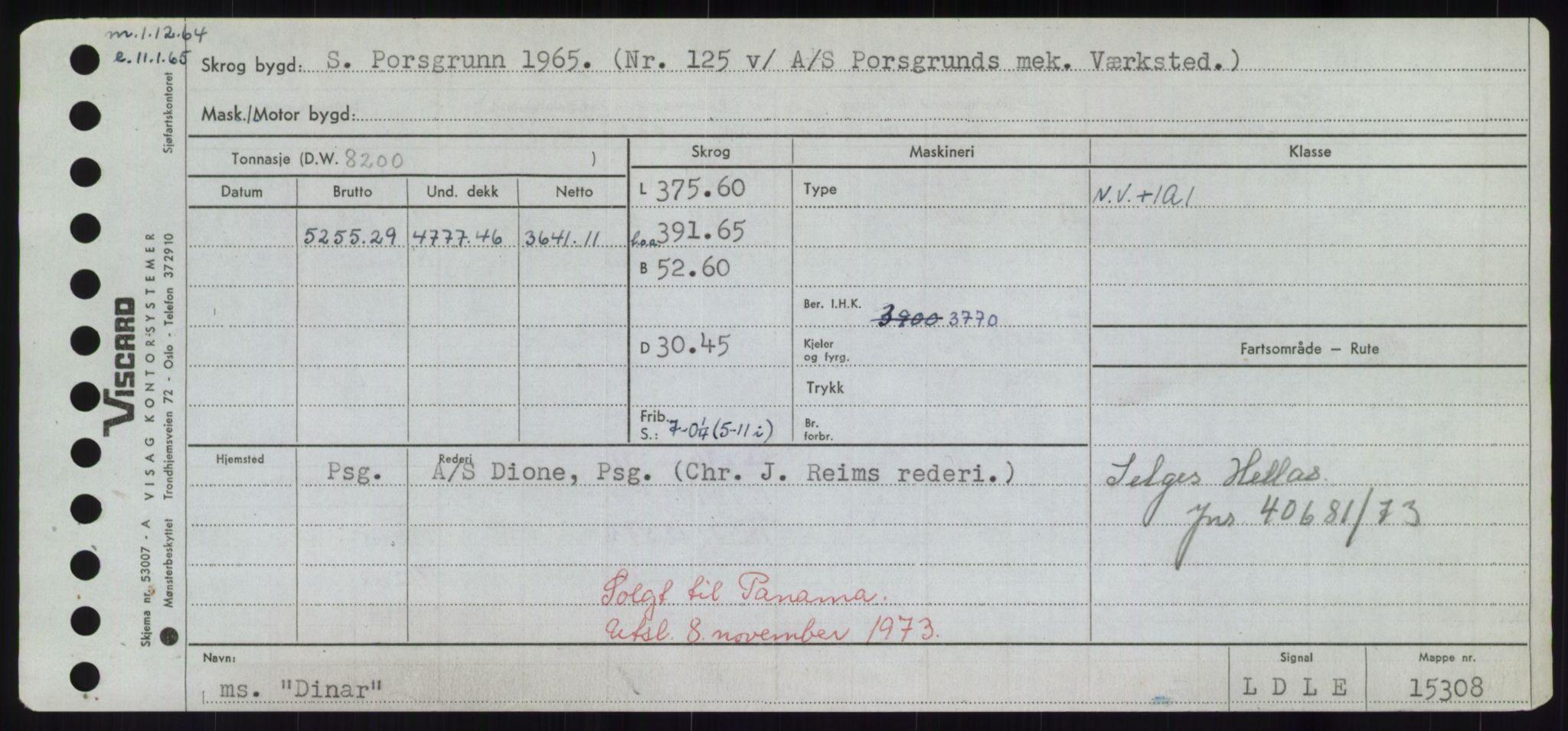 RA, Sjøfartsdirektoratet med forløpere, Skipsmålingen, H/Hd/L0008: Fartøy, C-D, s. 493
