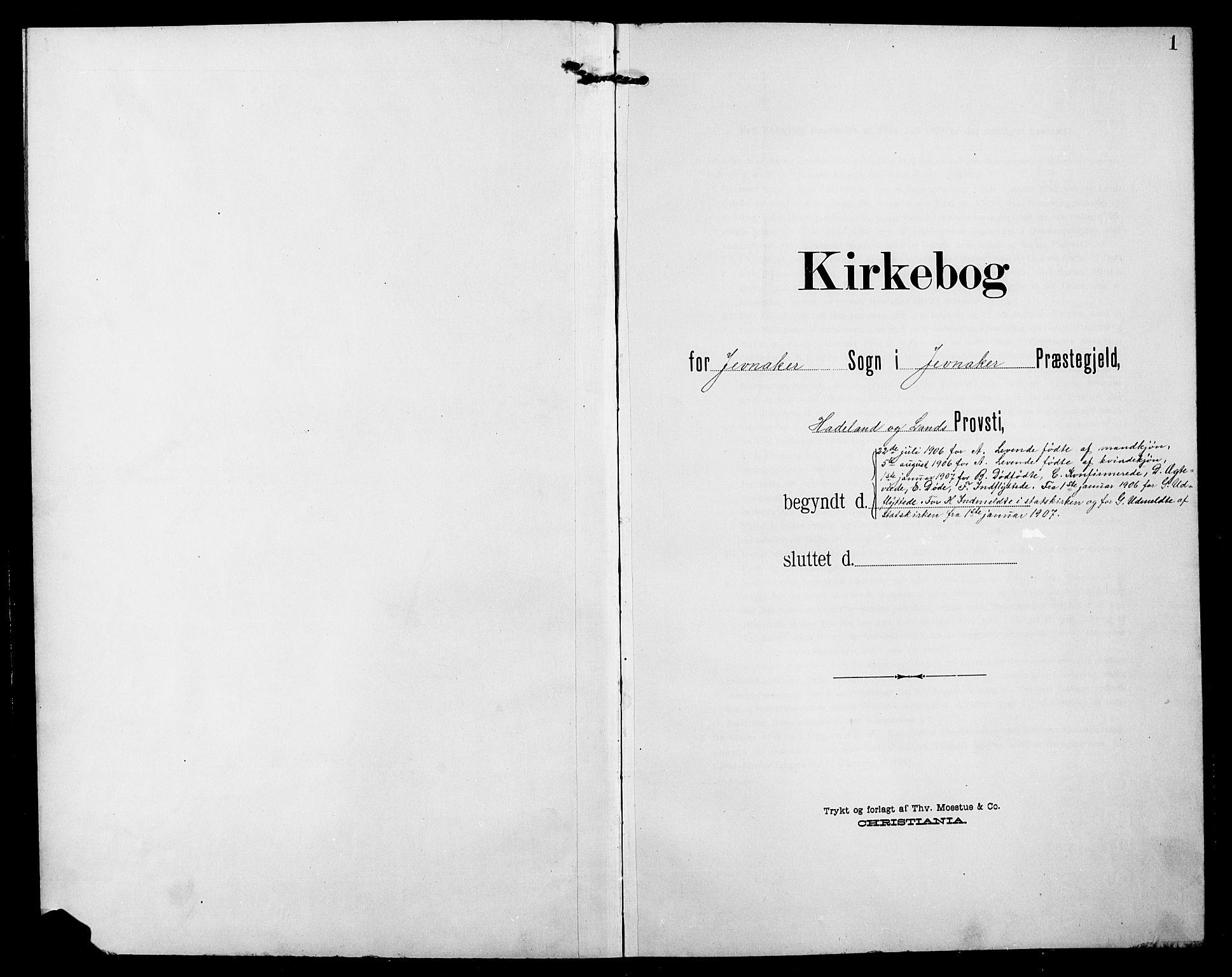 SAH, Jevnaker prestekontor, Klokkerbok nr. 4, 1907-1918, s. 1