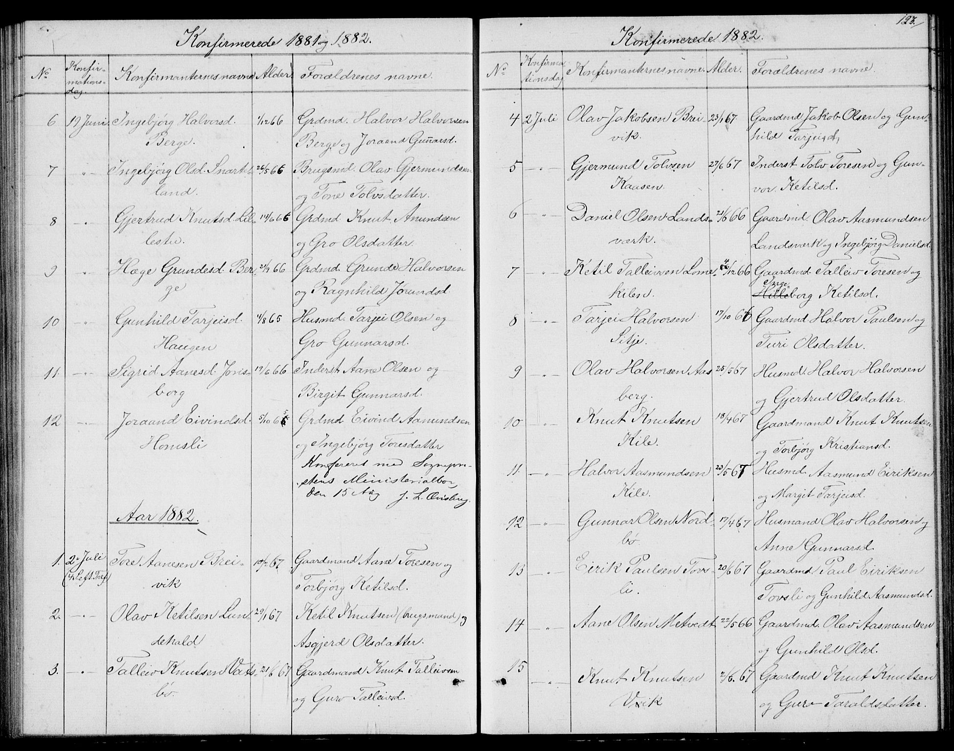 SAKO, Fyresdal kirkebøker, G/Ga/L0004: Klokkerbok nr. I 4, 1864-1892, s. 123