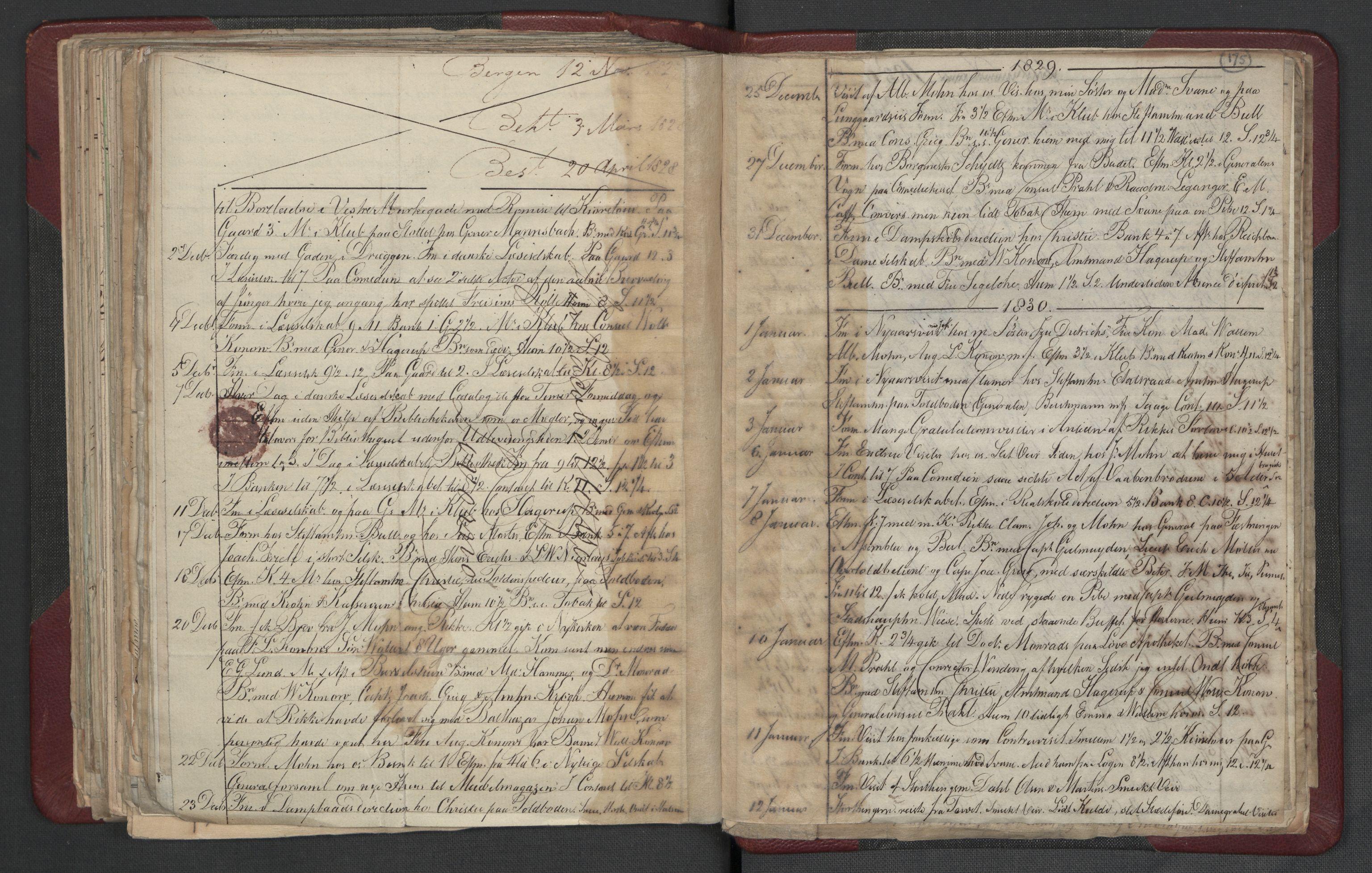 RA, Meltzer, Fredrik, F/L0003: Dagbok, 1821-1831, s. 174b-175a