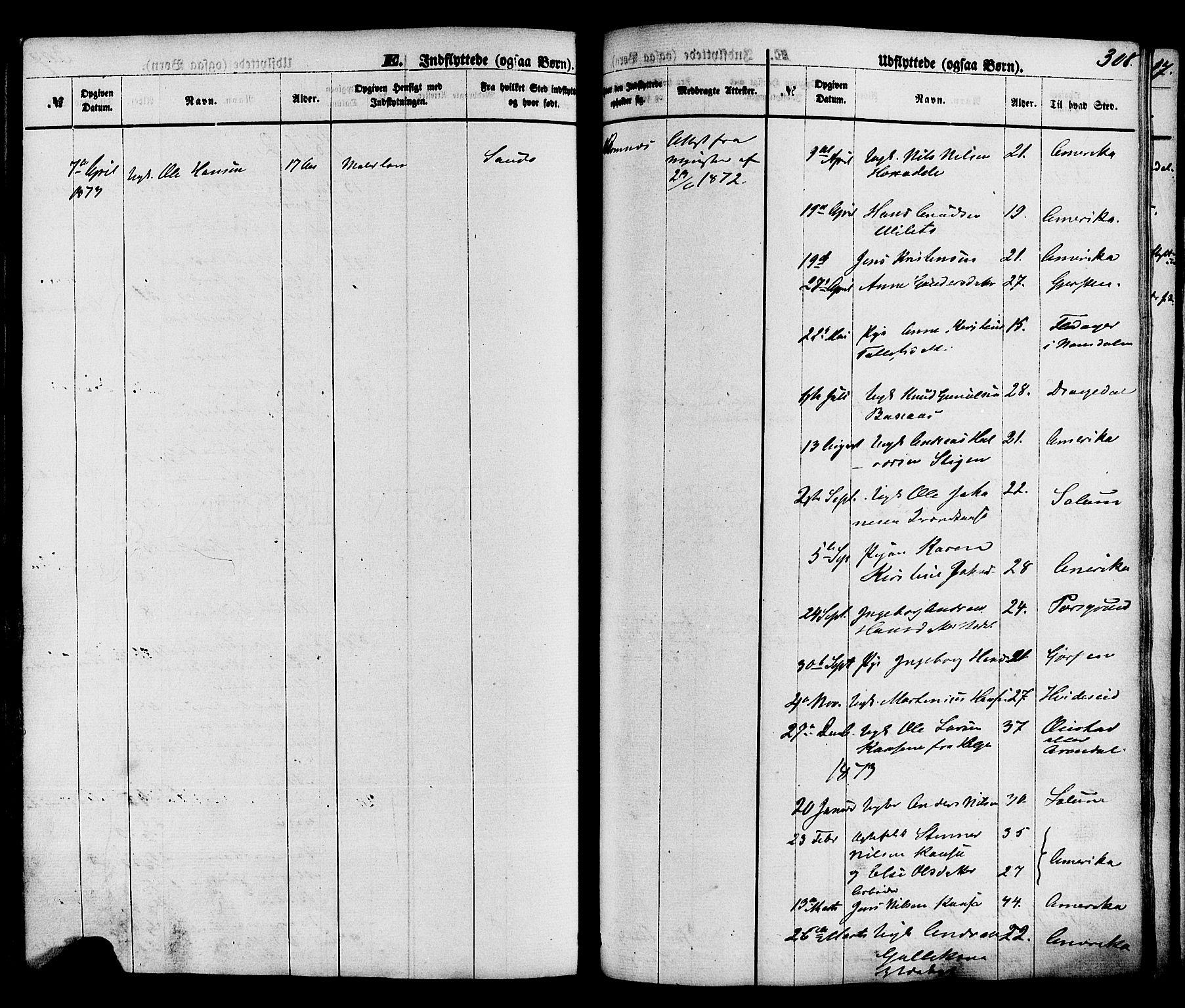 SAKO, Holla kirkebøker, F/Fa/L0007: Ministerialbok nr. 7, 1869-1881, s. 308