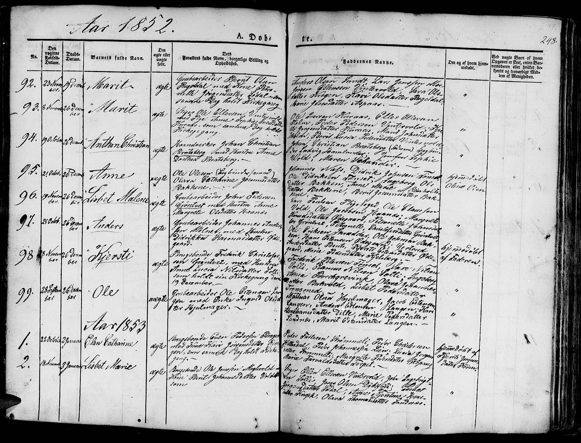 SAT, Ministerialprotokoller, klokkerbøker og fødselsregistre - Sør-Trøndelag, 681/L0938: Klokkerbok nr. 681C02, 1829-1879, s. 248