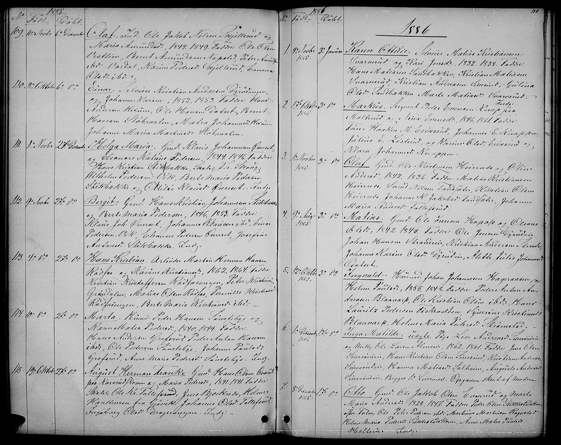 SAH, Vestre Toten prestekontor, H/Ha/Hab/L0006: Klokkerbok nr. 6, 1870-1887, s. 150