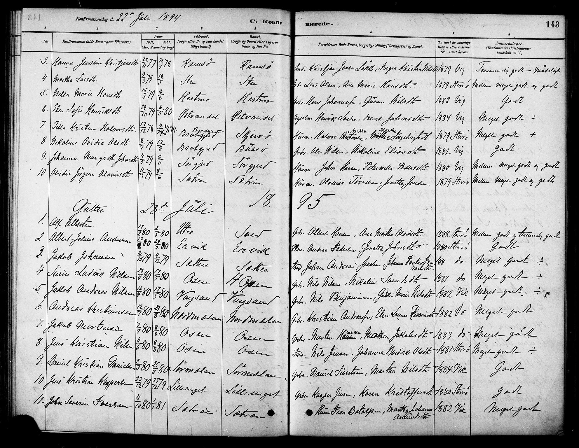 SAT, Ministerialprotokoller, klokkerbøker og fødselsregistre - Sør-Trøndelag, 658/L0722: Ministerialbok nr. 658A01, 1879-1896, s. 143