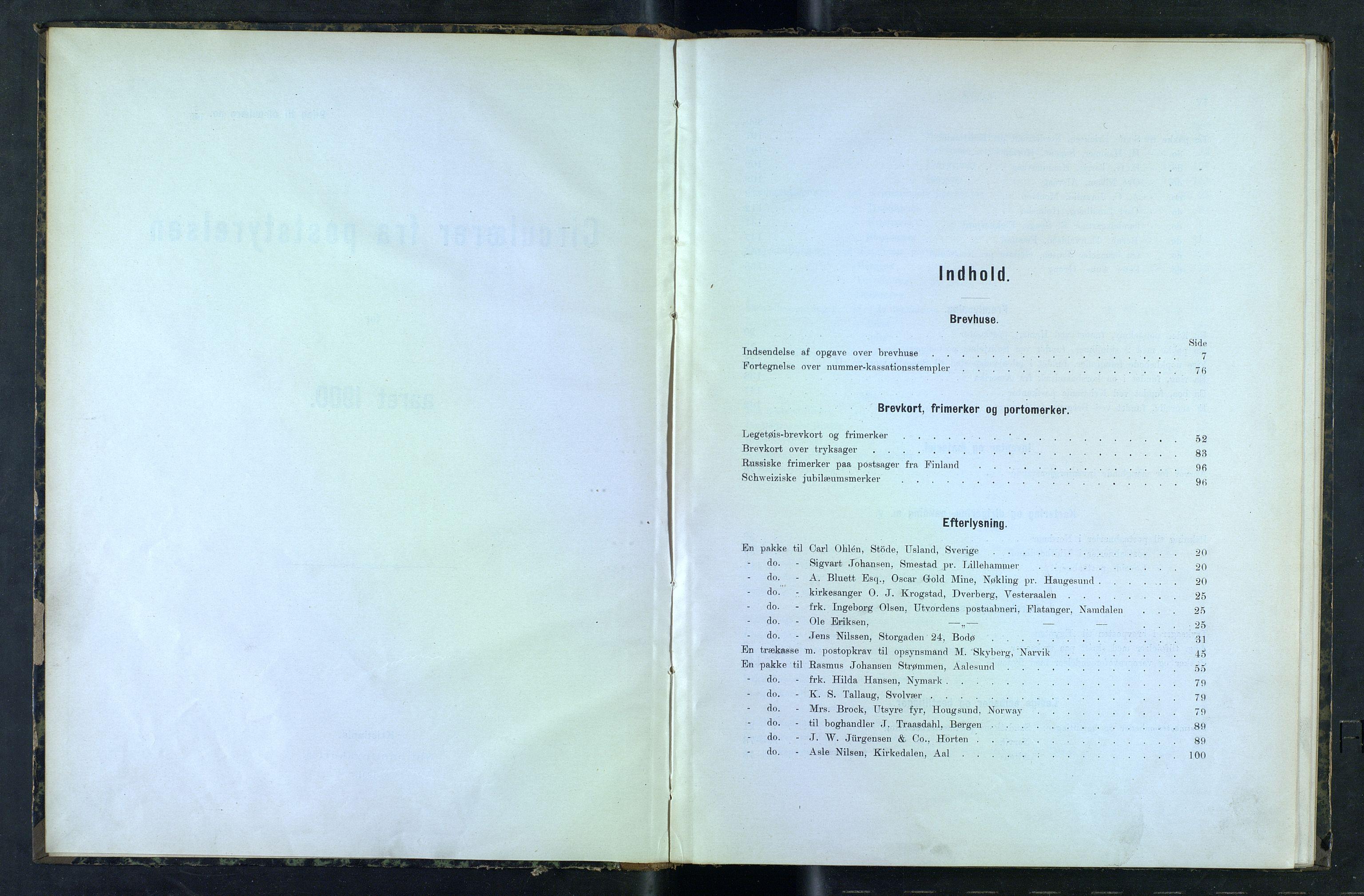NOPO, Norges Postmuseums bibliotek, -/-: Sirkulærer fra Poststyrelsen, 1900