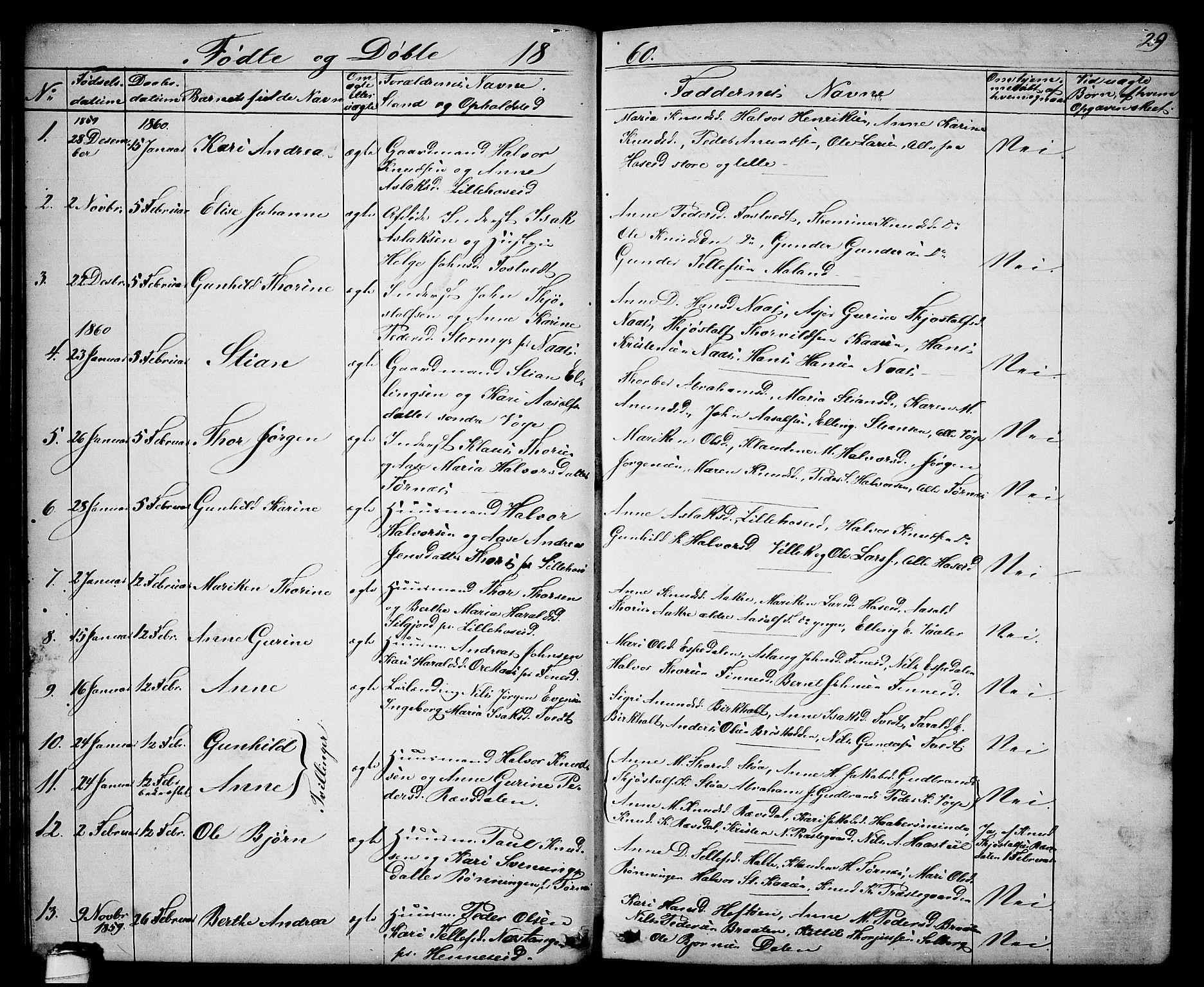 SAKO, Drangedal kirkebøker, G/Ga/L0002: Klokkerbok nr. I 2, 1856-1887, s. 29