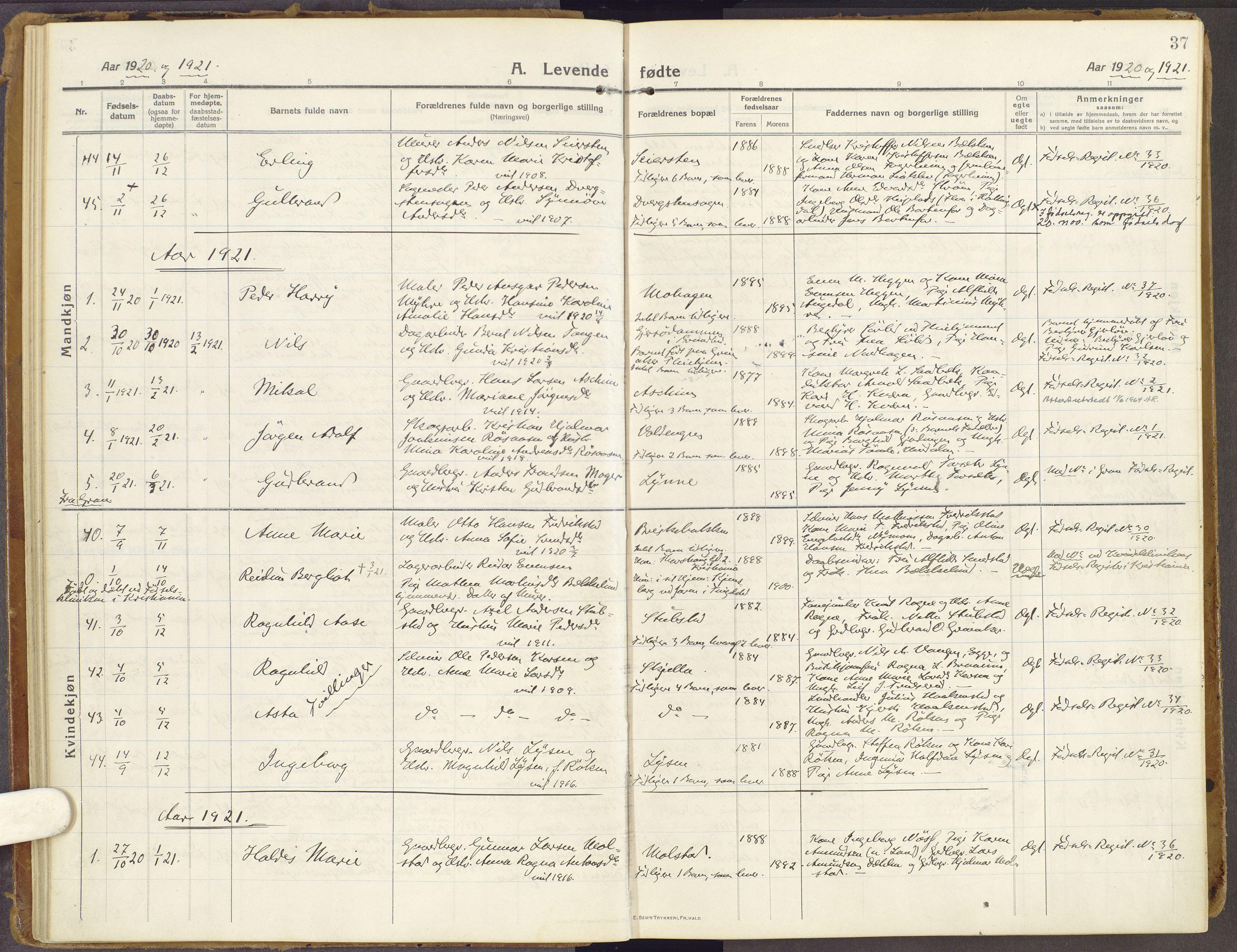 SAH, Brandbu prestekontor, Ministerialbok nr. 3, 1914-1928, s. 37