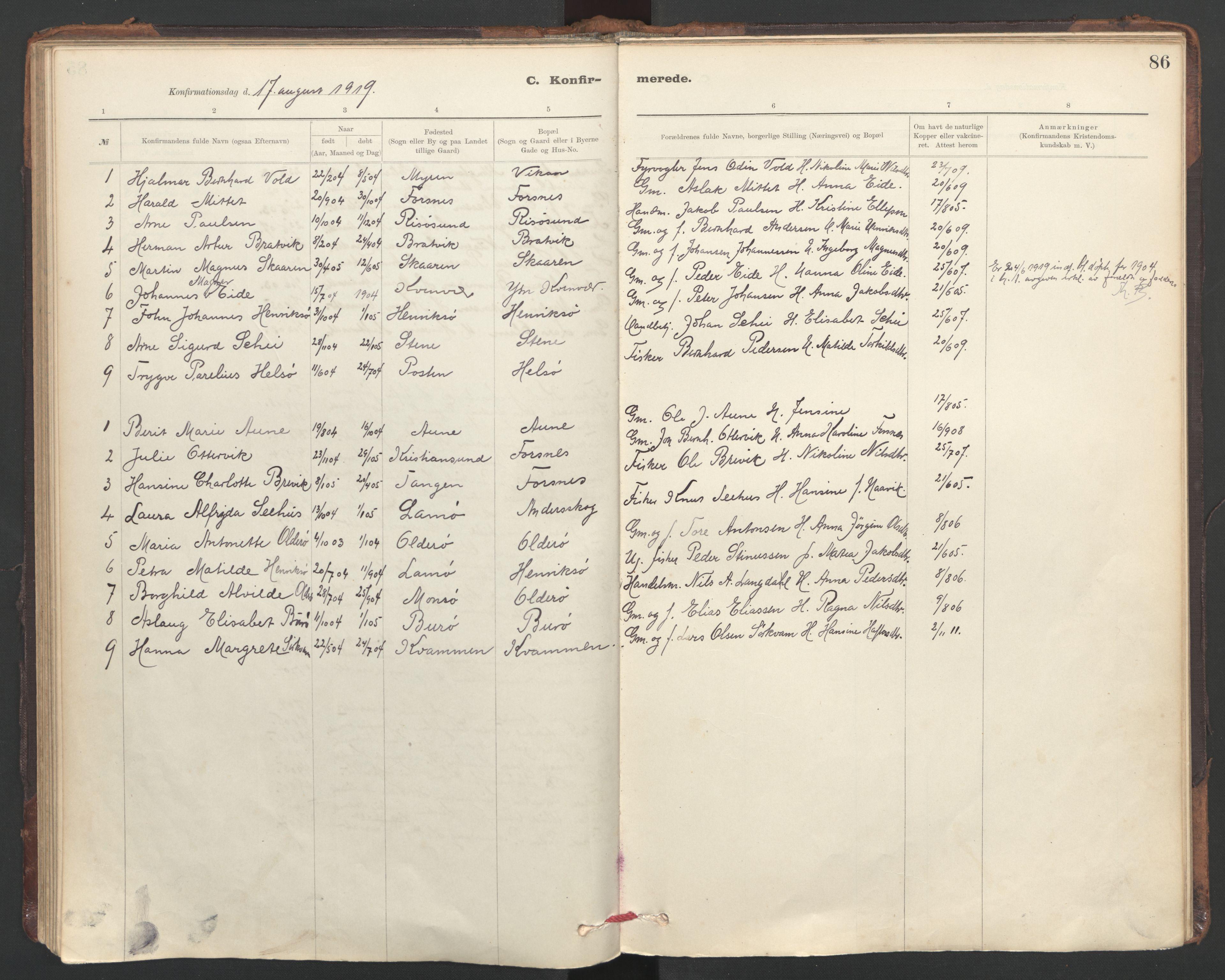 SAT, Ministerialprotokoller, klokkerbøker og fødselsregistre - Sør-Trøndelag, 635/L0552: Ministerialbok nr. 635A02, 1899-1919, s. 86