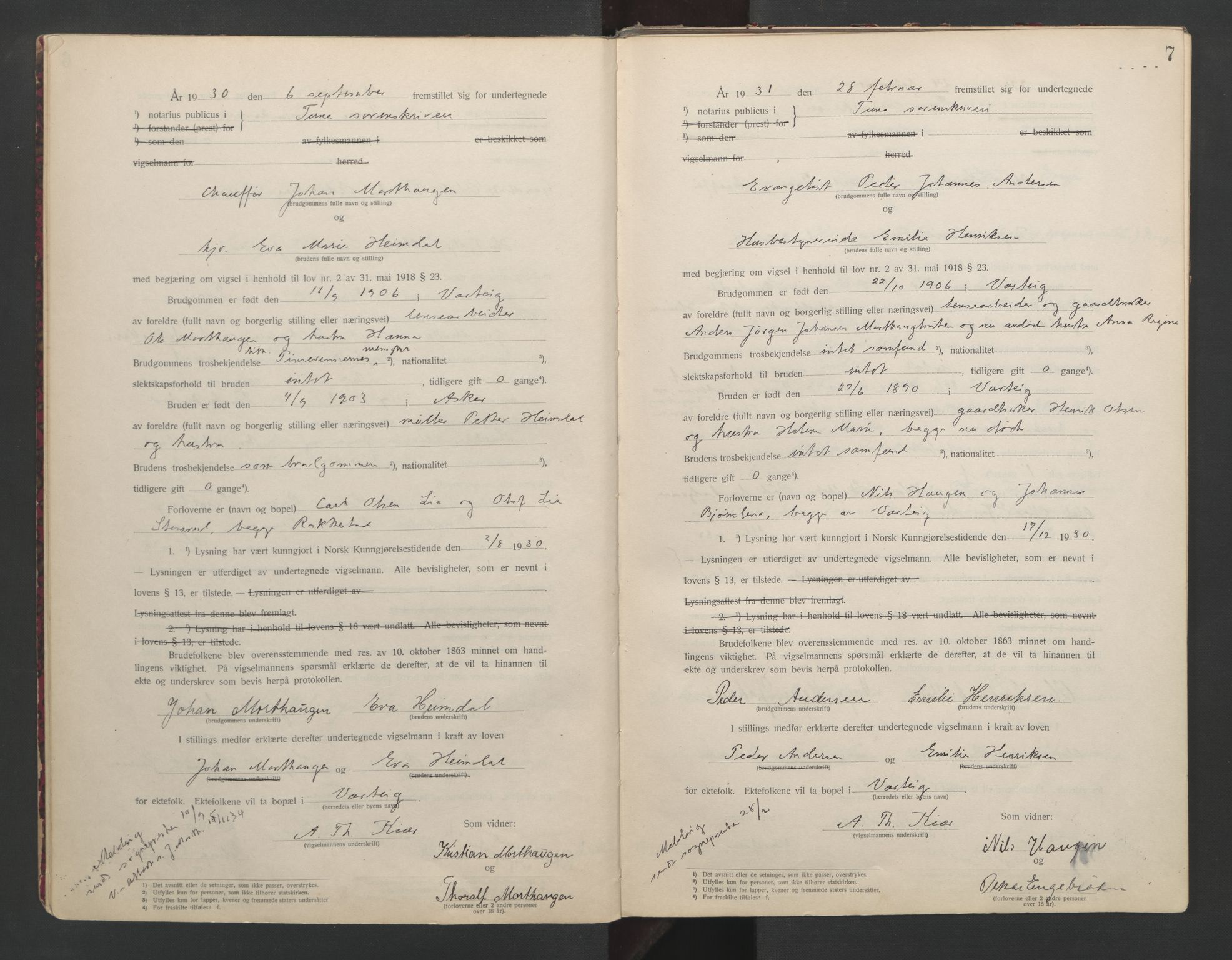 SAO, Tune sorenskriveri, L/Lb/L0001: Vigselprotokoll, 1923-1943, s. 7