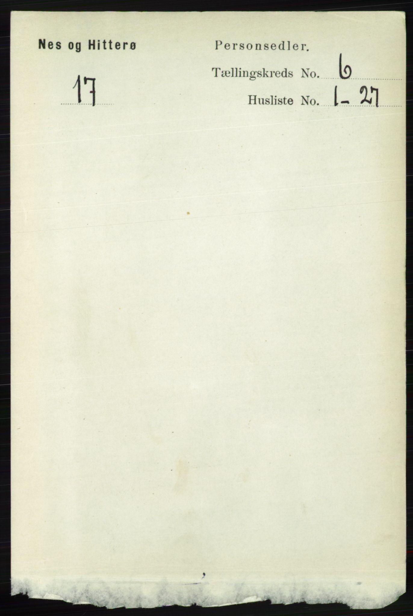 RA, Folketelling 1891 for 1043 Hidra og Nes herred, 1891, s. 2245