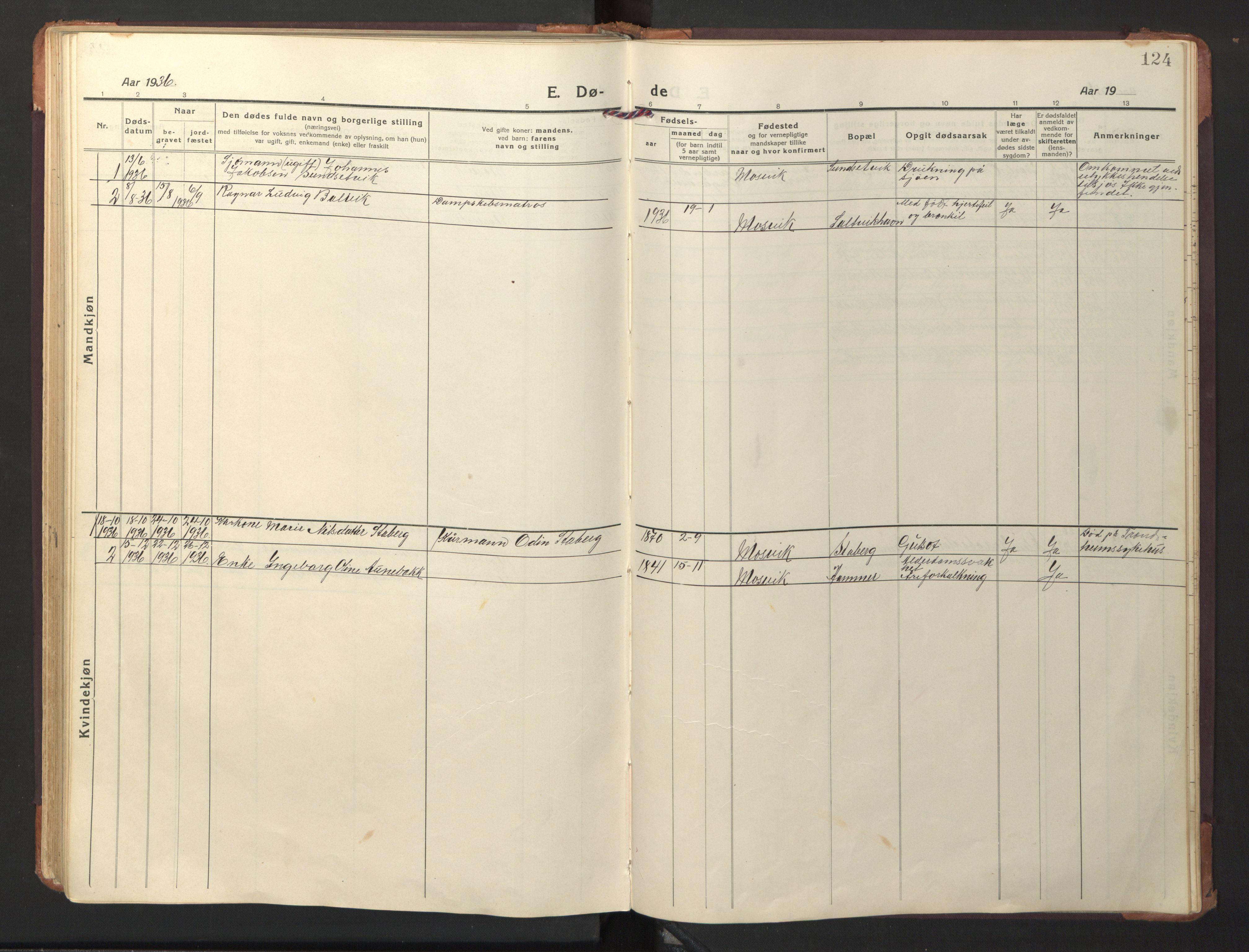 SAT, Ministerialprotokoller, klokkerbøker og fødselsregistre - Nord-Trøndelag, 733/L0328: Klokkerbok nr. 733C03, 1919-1966, s. 124