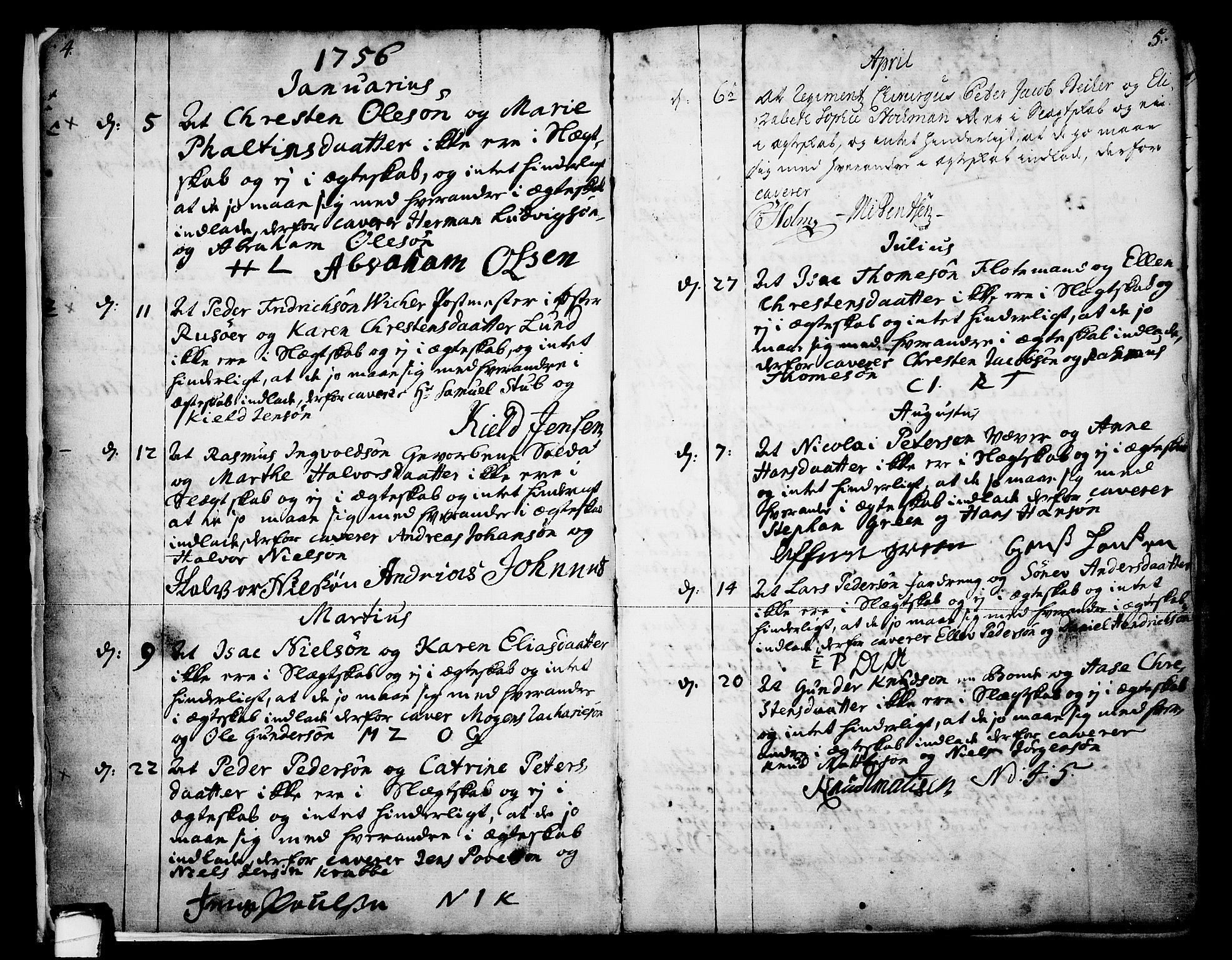 SAKO, Skien kirkebøker, F/Fa/L0003: Ministerialbok nr. 3, 1755-1791, s. 4-5