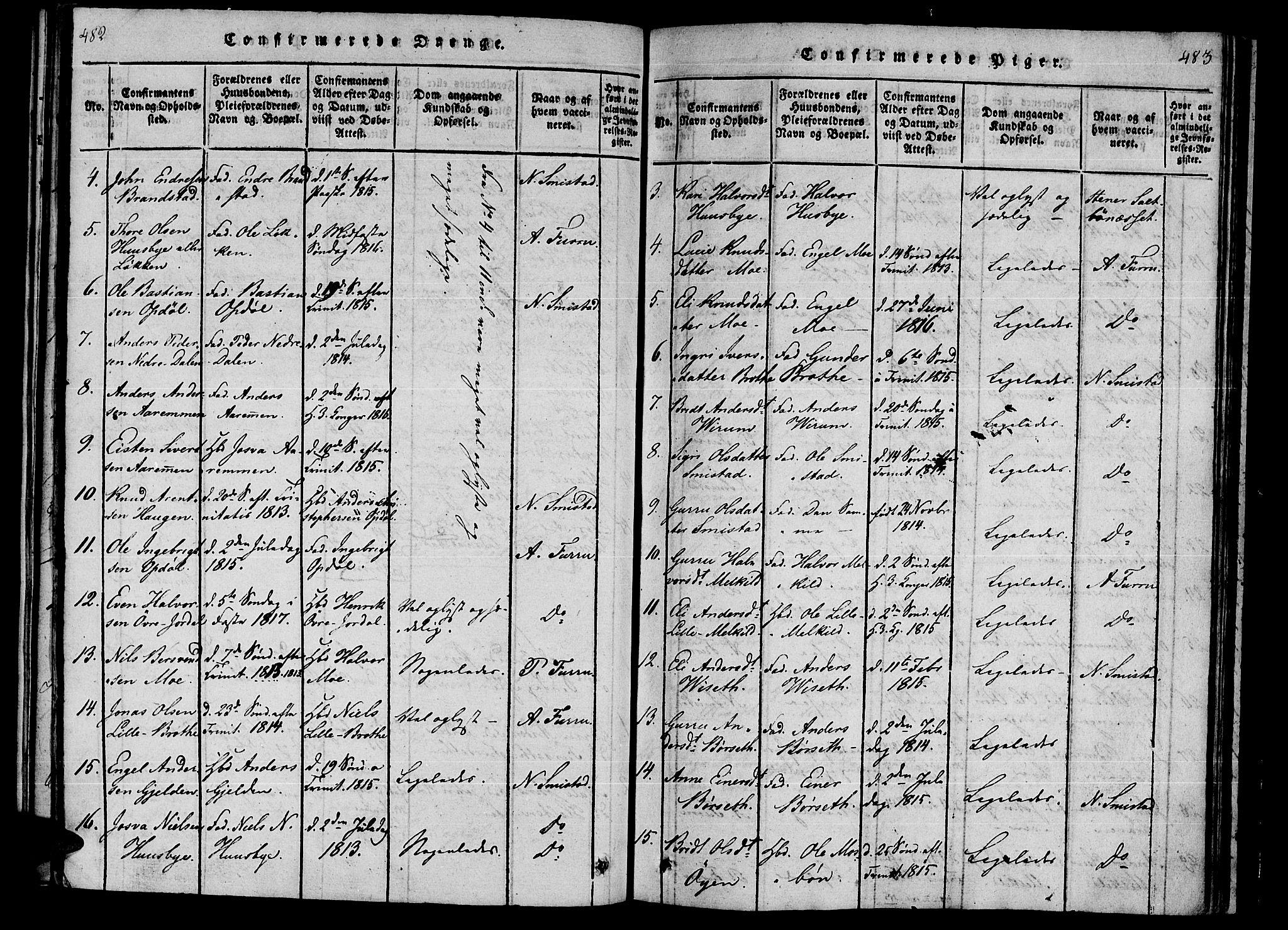 SAT, Ministerialprotokoller, klokkerbøker og fødselsregistre - Møre og Romsdal, 590/L1009: Ministerialbok nr. 590A03 /1, 1819-1832, s. 482-483
