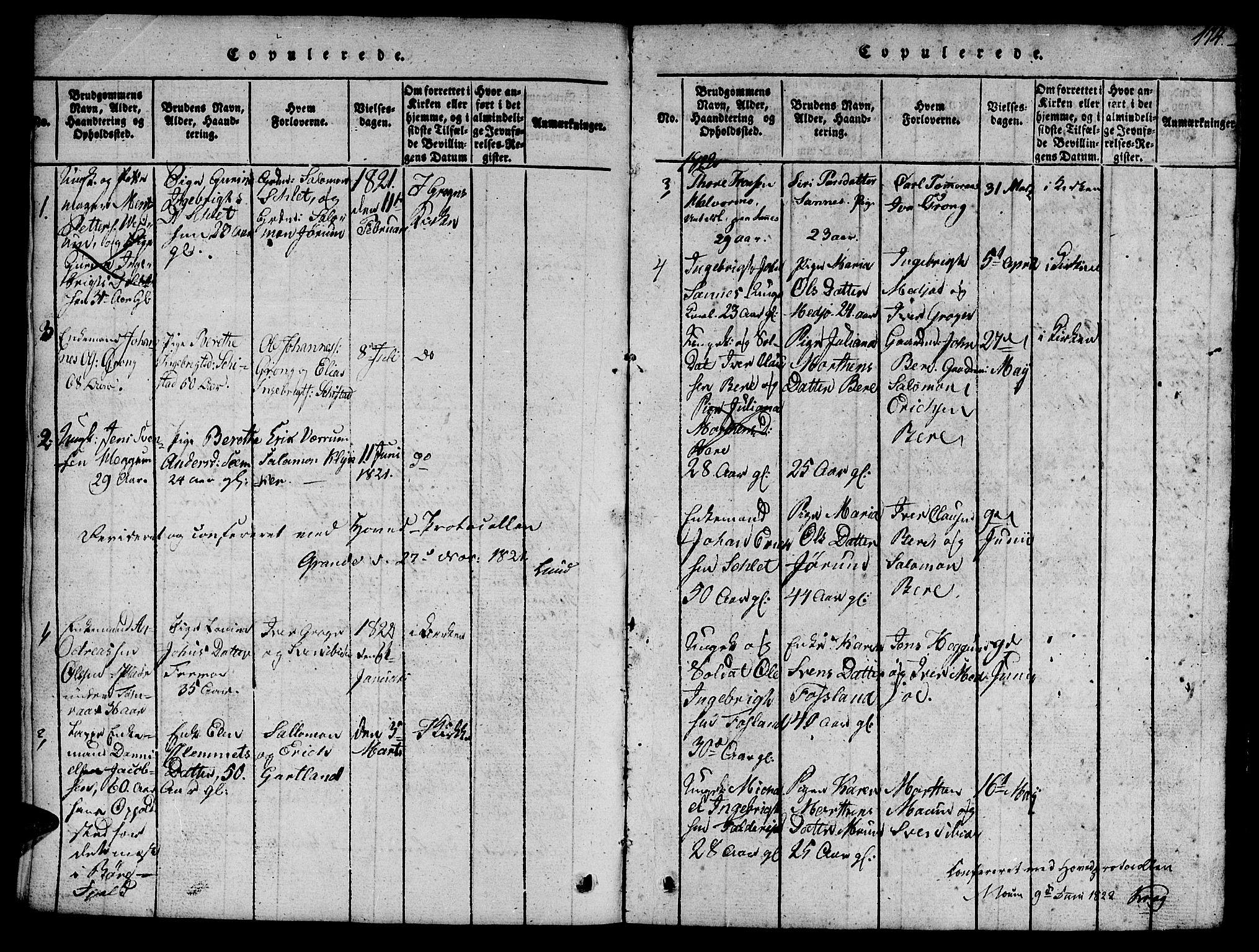SAT, Ministerialprotokoller, klokkerbøker og fødselsregistre - Nord-Trøndelag, 758/L0521: Klokkerbok nr. 758C01, 1816-1825, s. 114