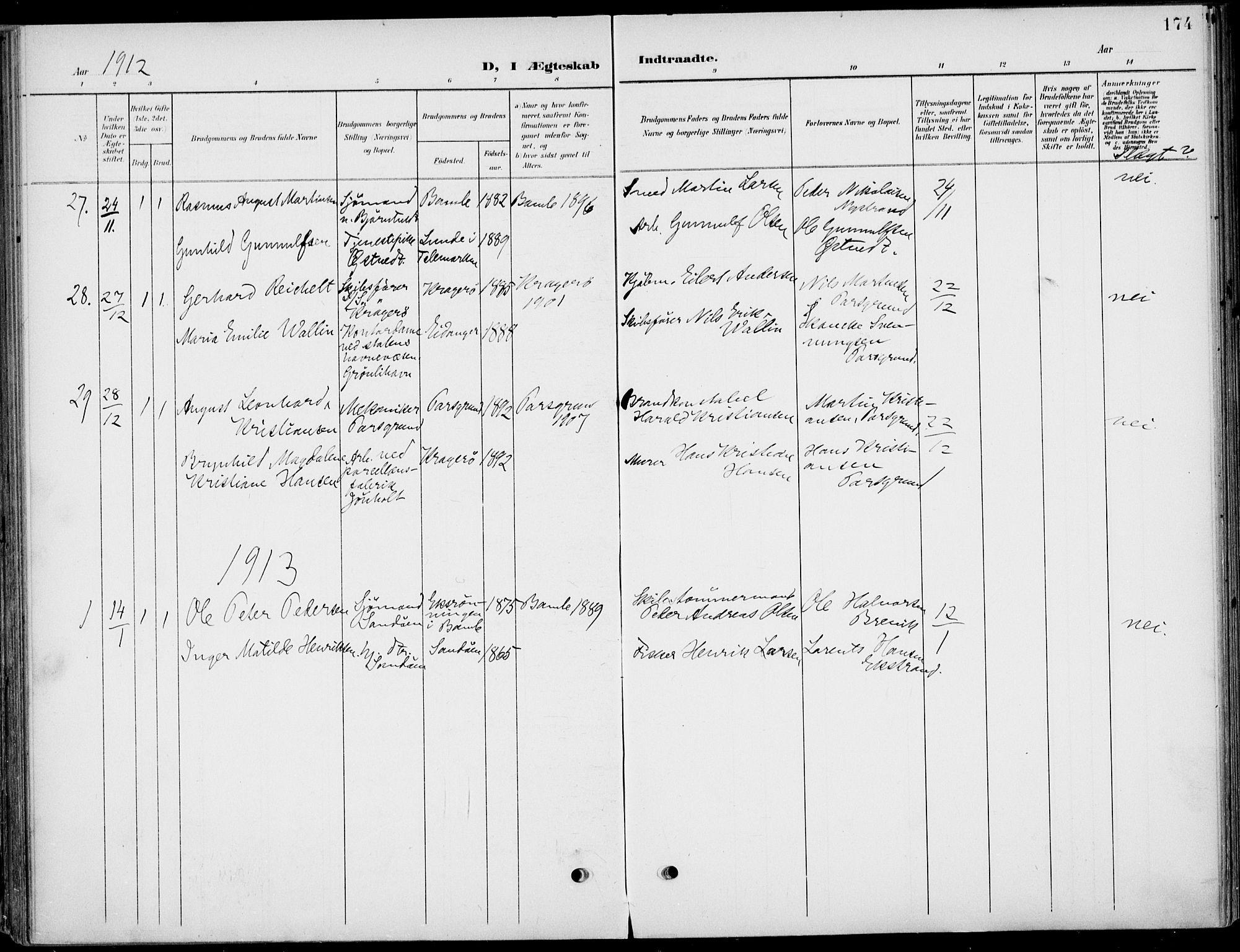 SAKO, Eidanger kirkebøker, F/Fa/L0013: Ministerialbok nr. 13, 1900-1913, s. 174