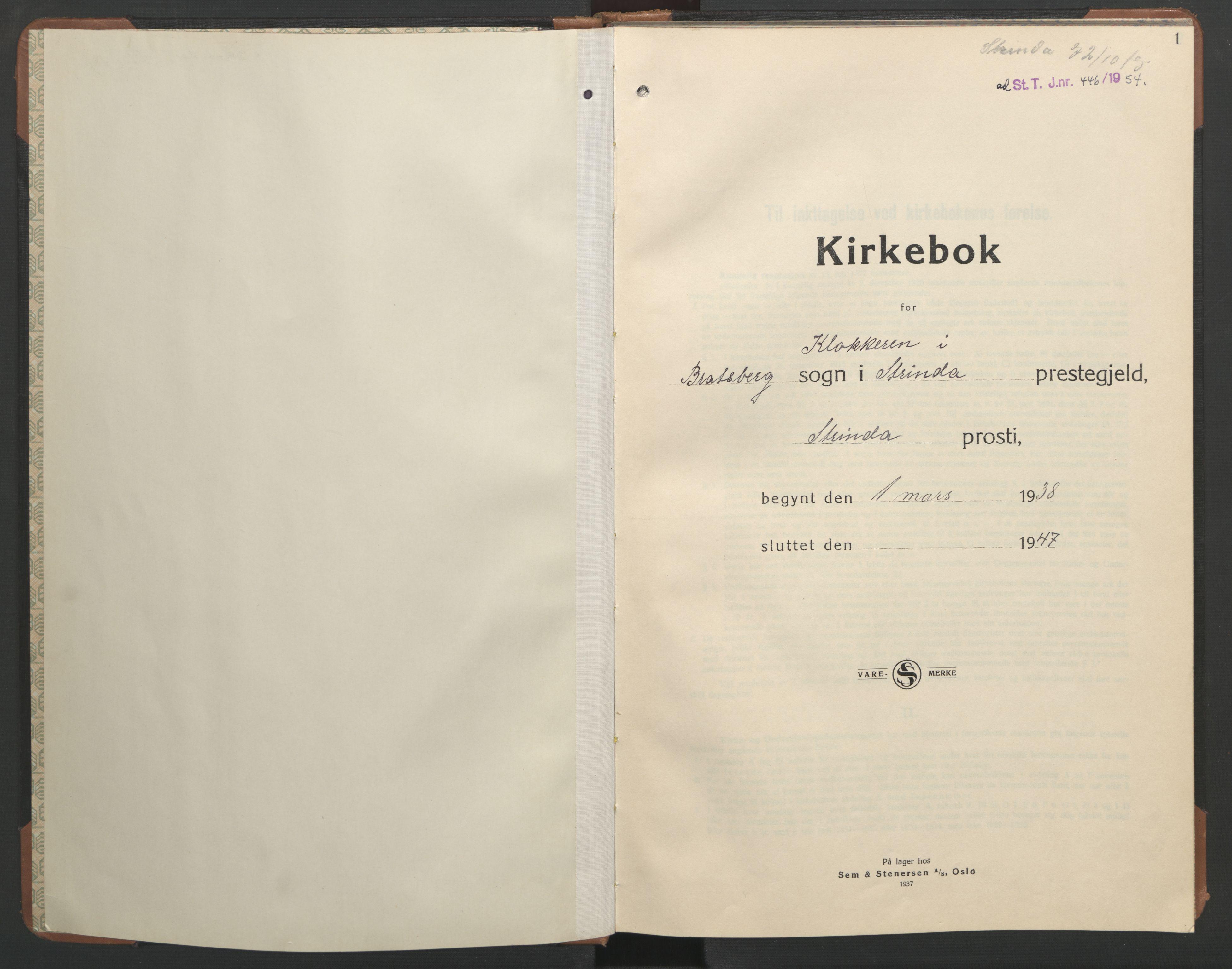 SAT, Ministerialprotokoller, klokkerbøker og fødselsregistre - Sør-Trøndelag, 608/L0343: Klokkerbok nr. 608C09, 1938-1952, s. 1
