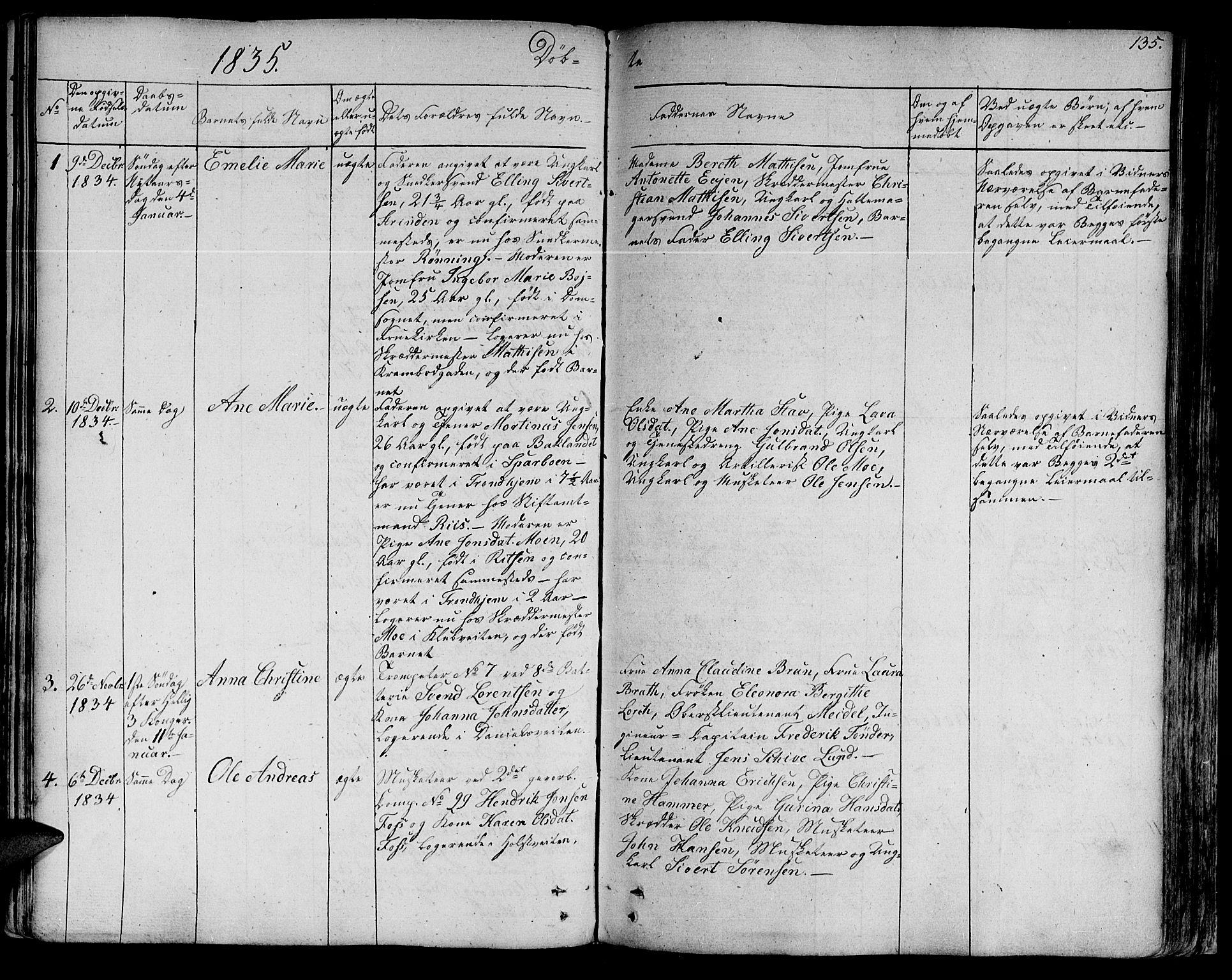 SAT, Ministerialprotokoller, klokkerbøker og fødselsregistre - Sør-Trøndelag, 602/L0108: Ministerialbok nr. 602A06, 1821-1839, s. 135