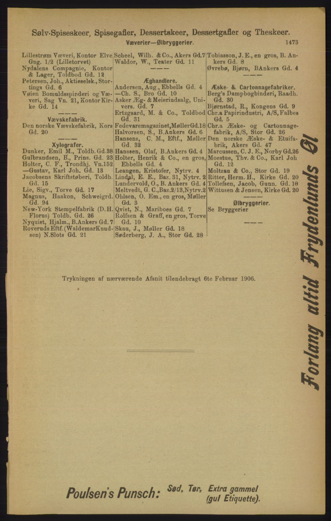 RA, Kristiania adressebok (publikasjon)*, 1906, s. 1473