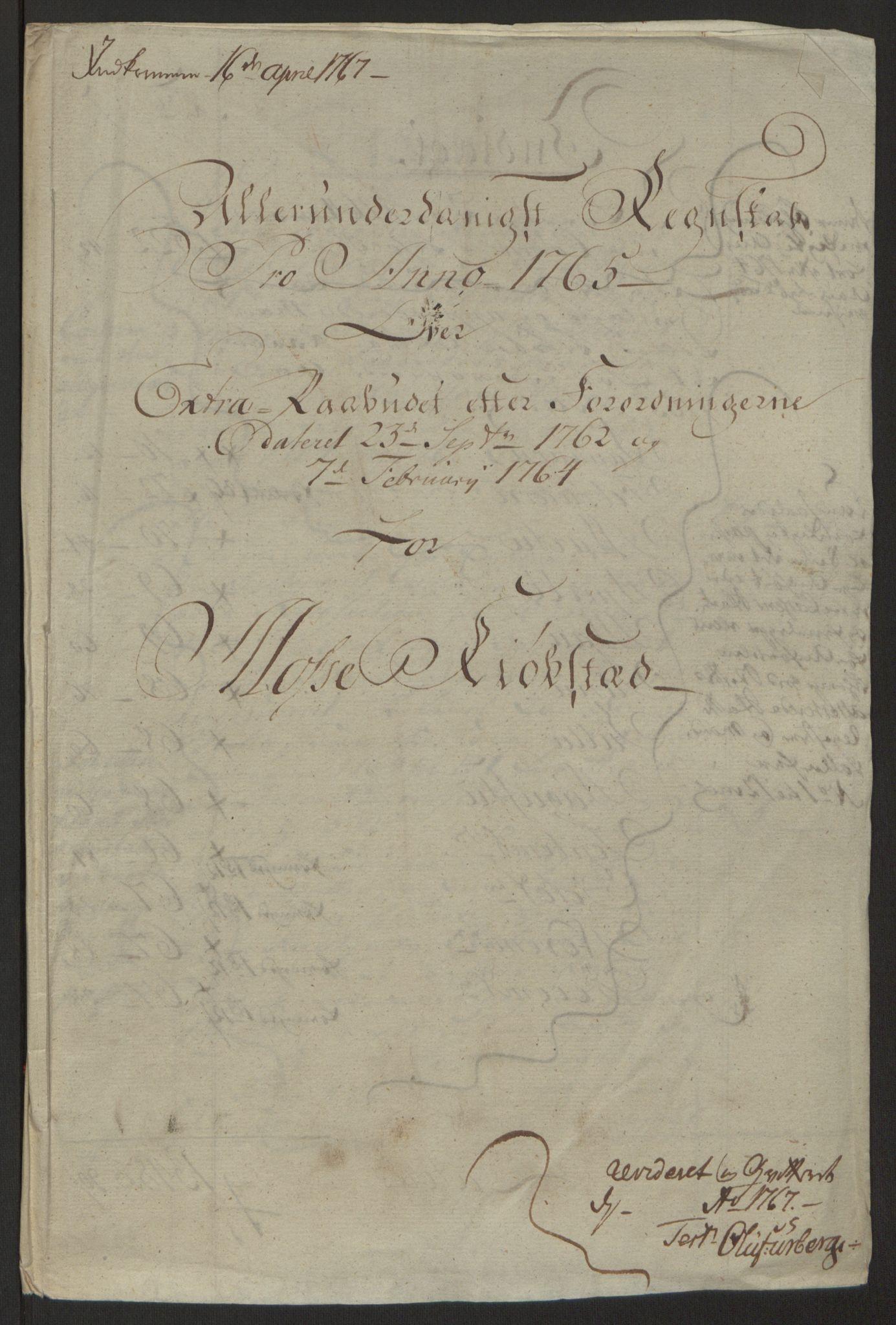 RA, Rentekammeret inntil 1814, Reviderte regnskaper, Byregnskaper, R/Rc/L0042: [C1] Kontribusjonsregnskap, 1762-1765, s. 336