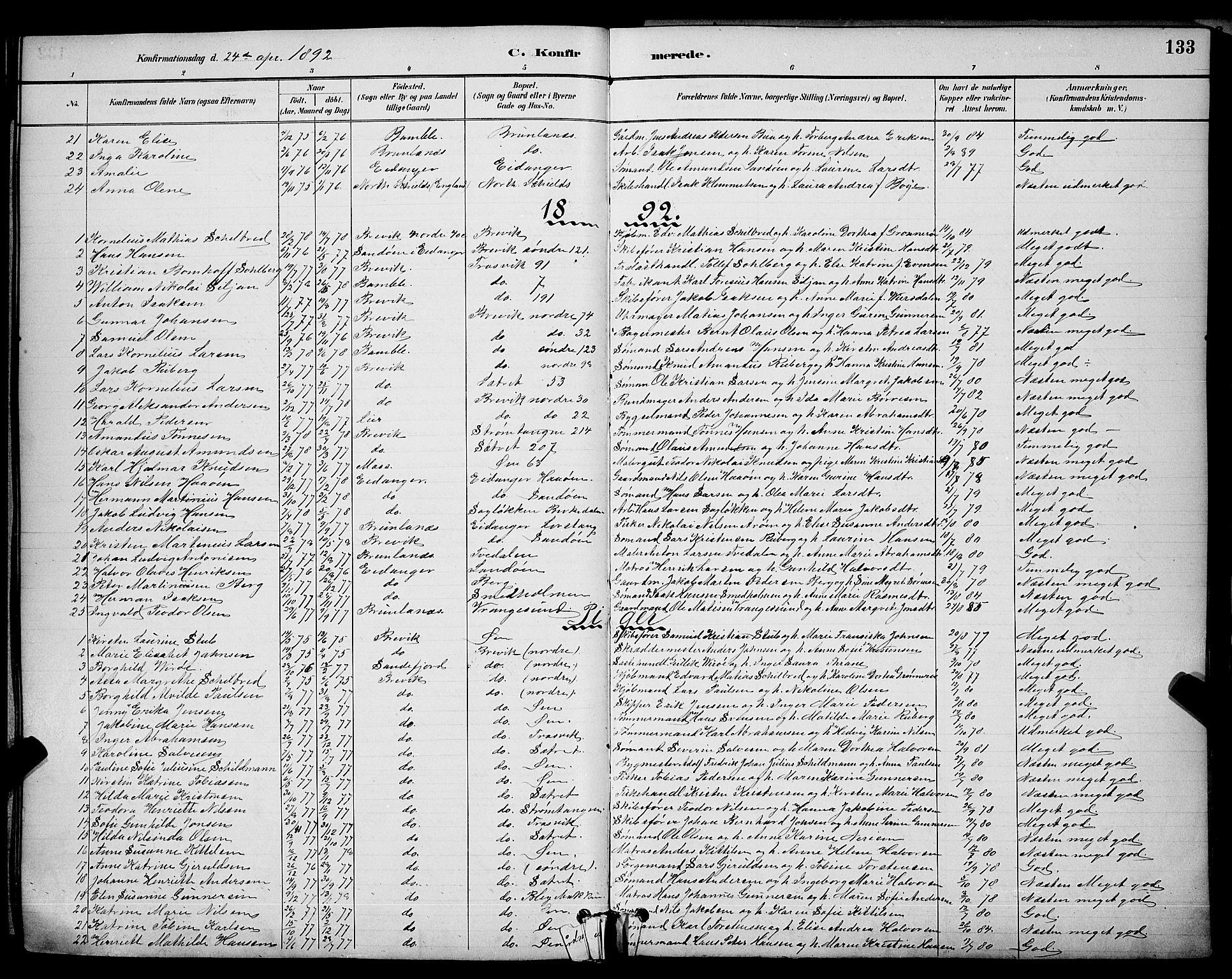SAKO, Brevik kirkebøker, G/Ga/L0004: Klokkerbok nr. 4, 1882-1900, s. 133