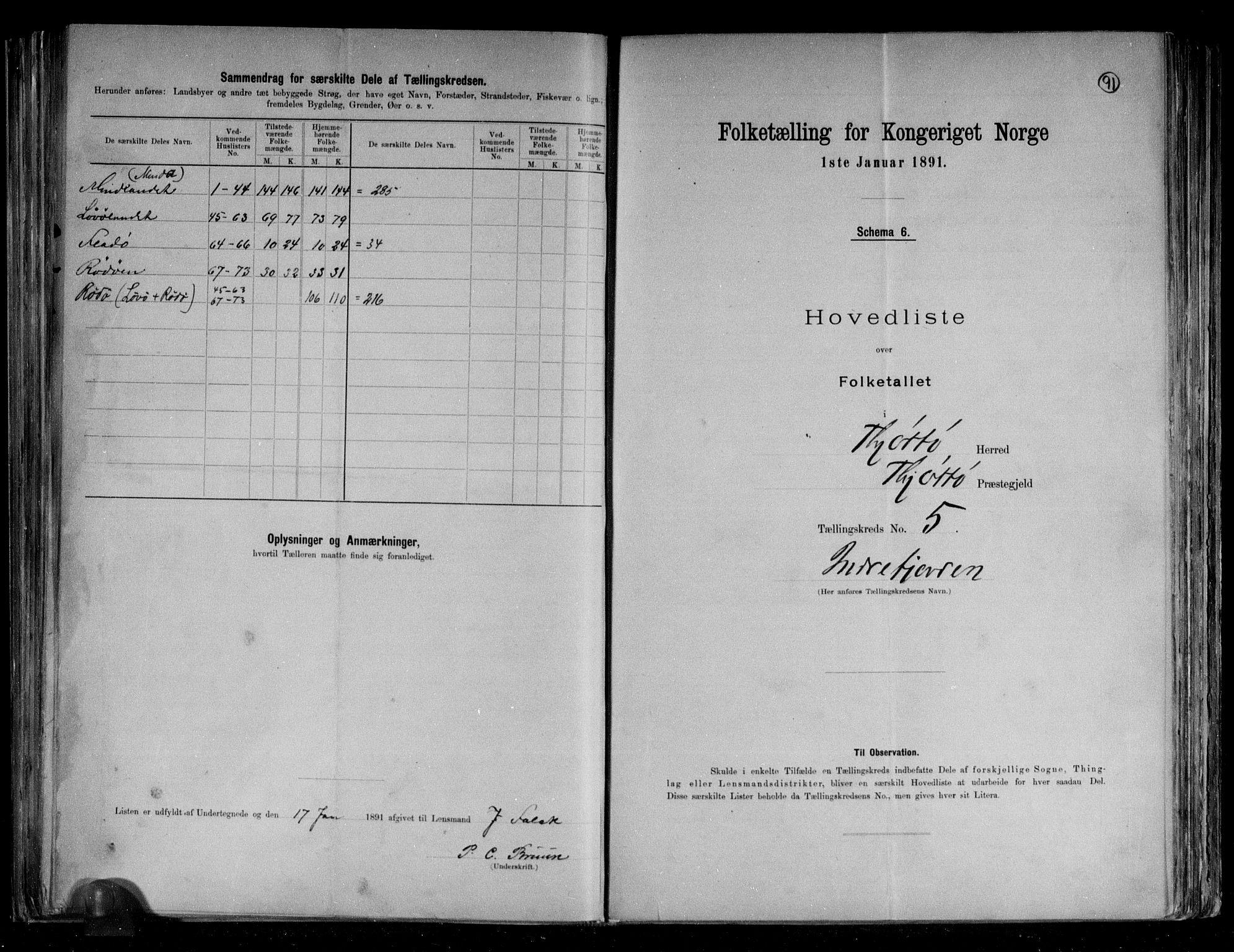 RA, Folketelling 1891 for 1817 Tjøtta herred, 1891, s. 15