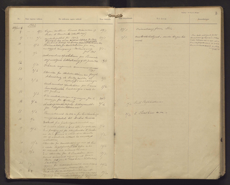 IKAH, Finnaas kommune. Formannskapet, C/Ca/L0003: Postjournal for formannskapet, 1902-1914, s. 3