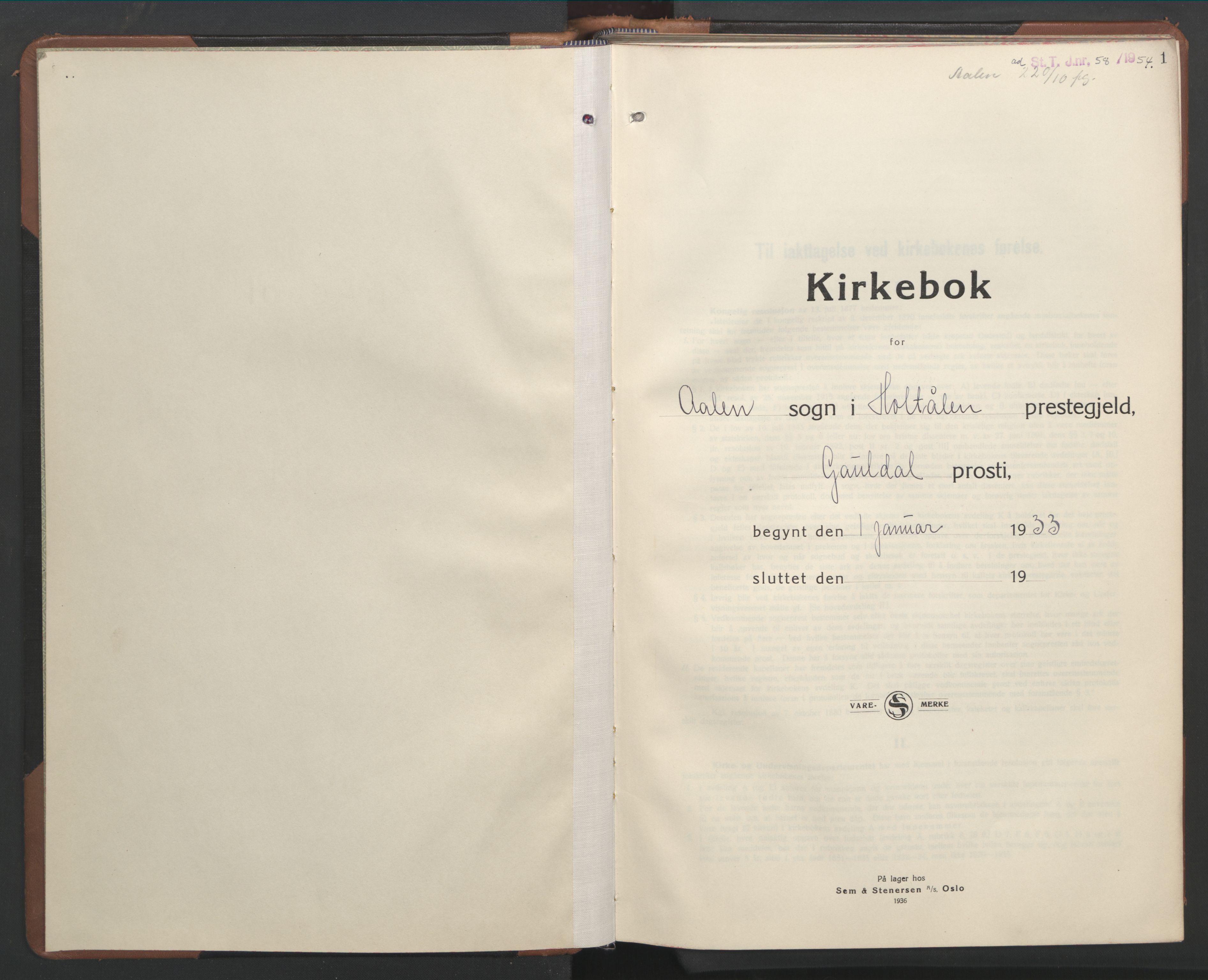 SAT, Ministerialprotokoller, klokkerbøker og fødselsregistre - Sør-Trøndelag, 686/L0986: Klokkerbok nr. 686C02, 1933-1950, s. 1