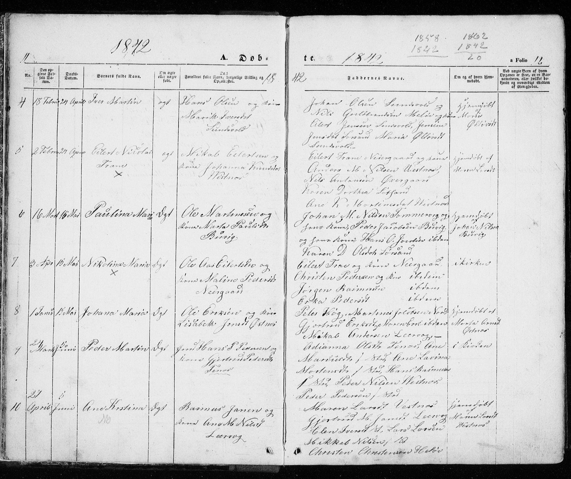 SATØ, Trondenes sokneprestkontor, H/Ha/L0010kirke: Ministerialbok nr. 10, 1840-1865, s. 11-12