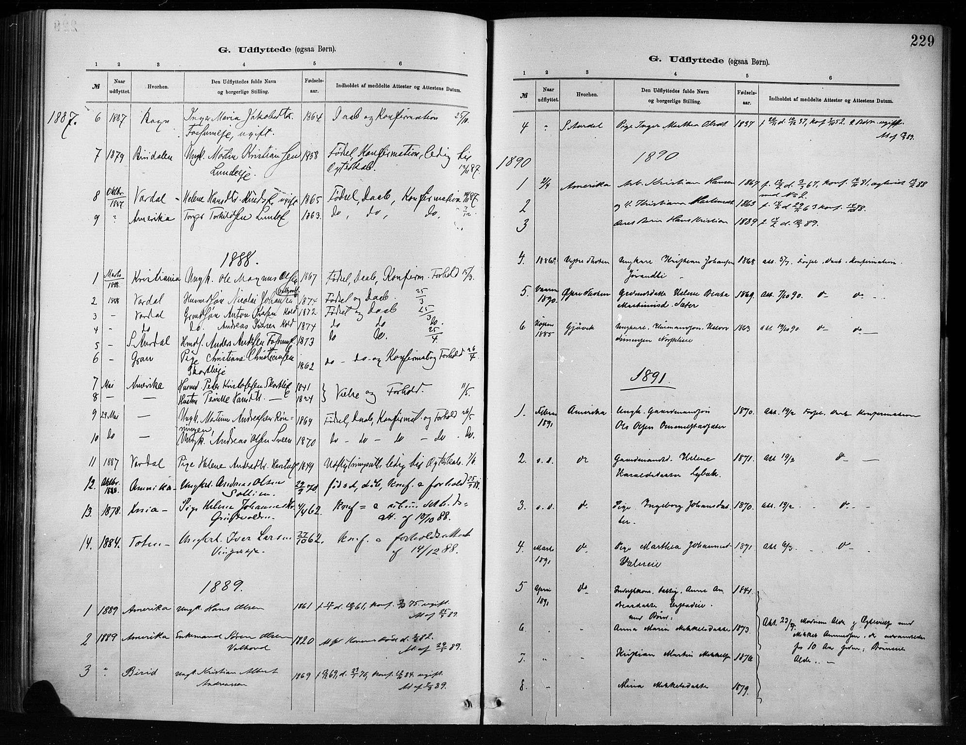 SAH, Nordre Land prestekontor, Ministerialbok nr. 4, 1882-1896, s. 229