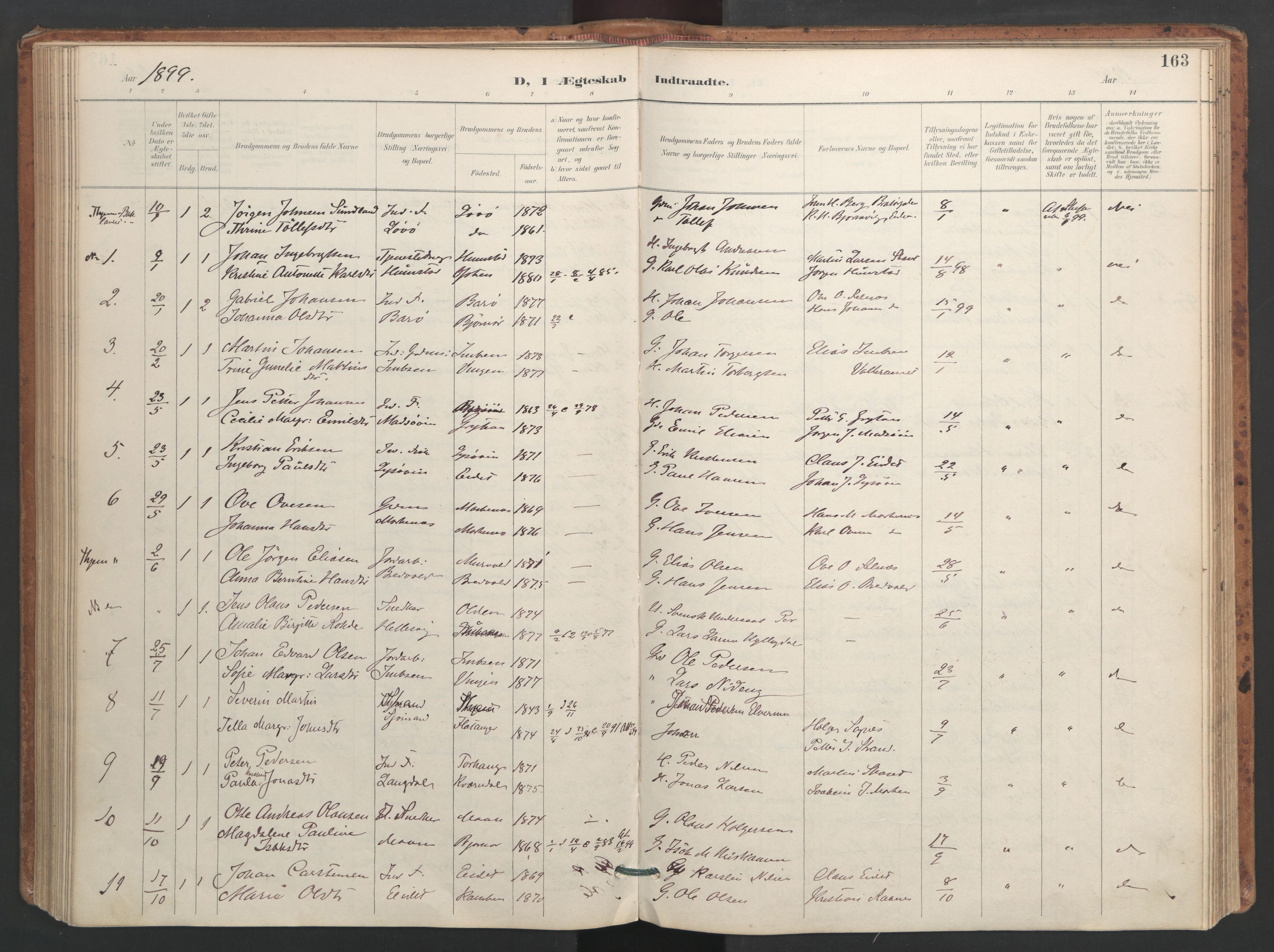 SAT, Ministerialprotokoller, klokkerbøker og fødselsregistre - Sør-Trøndelag, 655/L0681: Ministerialbok nr. 655A10, 1895-1907, s. 163