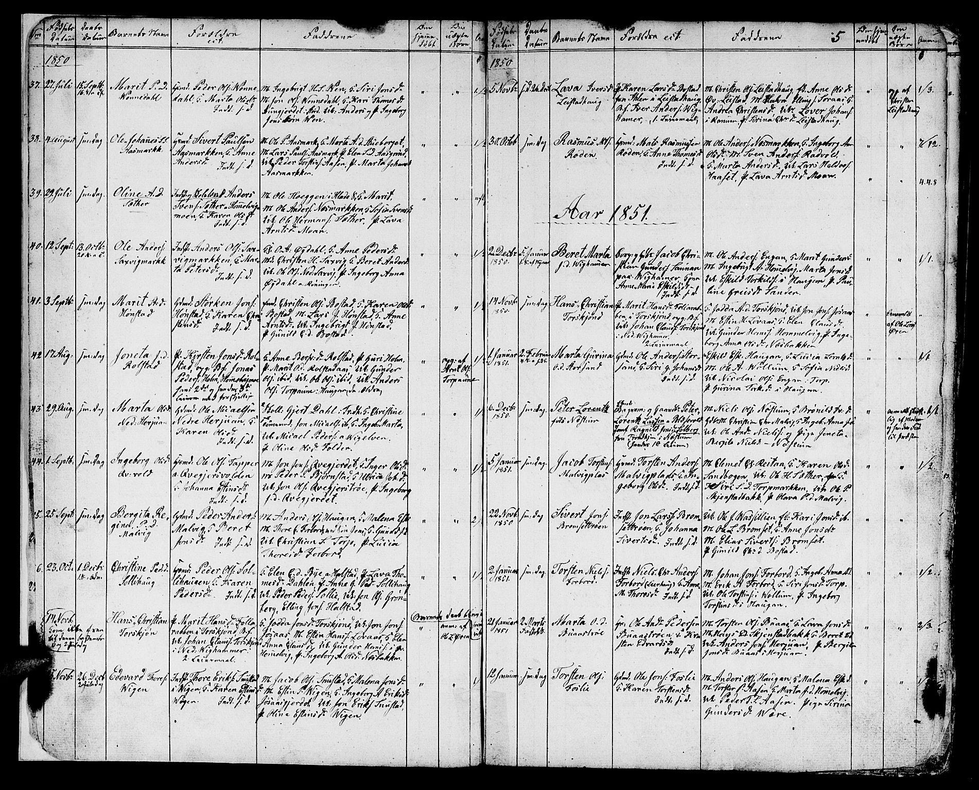 SAT, Ministerialprotokoller, klokkerbøker og fødselsregistre - Sør-Trøndelag, 616/L0422: Klokkerbok nr. 616C05, 1850-1888, s. 3
