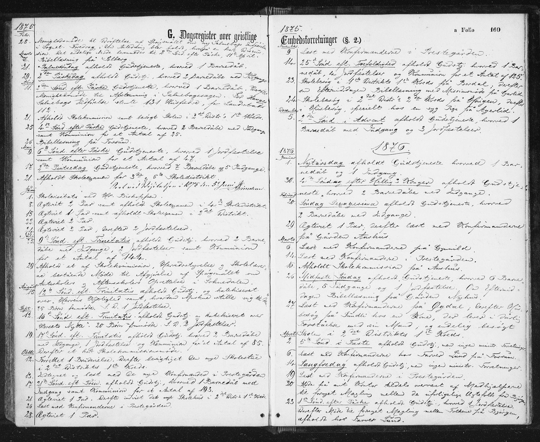 SAT, Ministerialprotokoller, klokkerbøker og fødselsregistre - Sør-Trøndelag, 689/L1039: Ministerialbok nr. 689A04, 1865-1878, s. 160