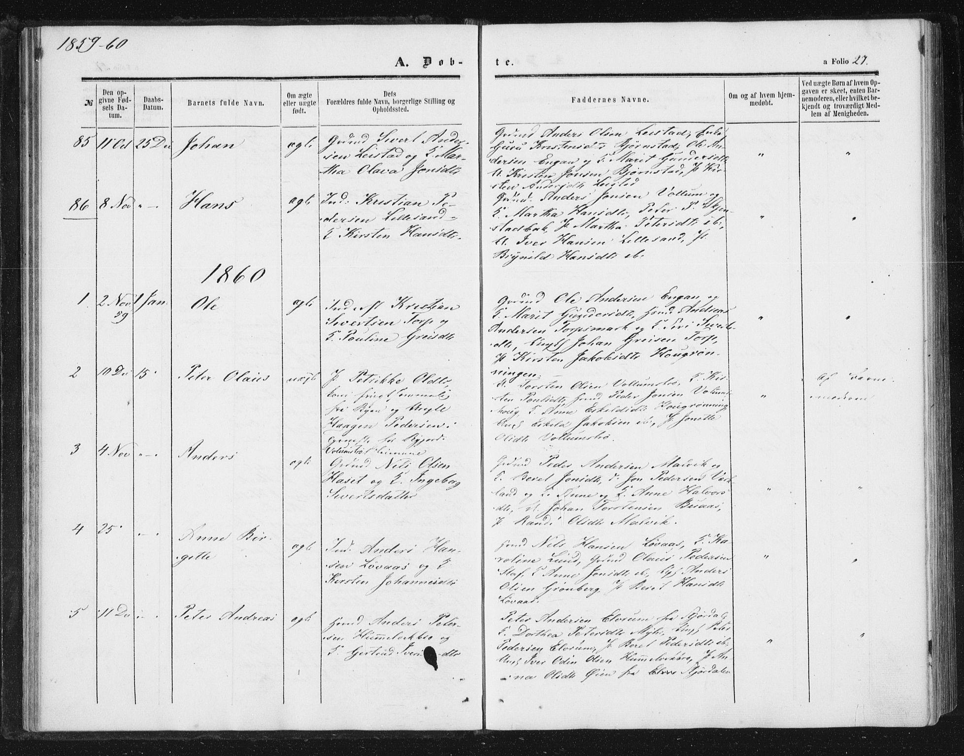 SAT, Ministerialprotokoller, klokkerbøker og fødselsregistre - Sør-Trøndelag, 616/L0408: Ministerialbok nr. 616A05, 1857-1865, s. 27