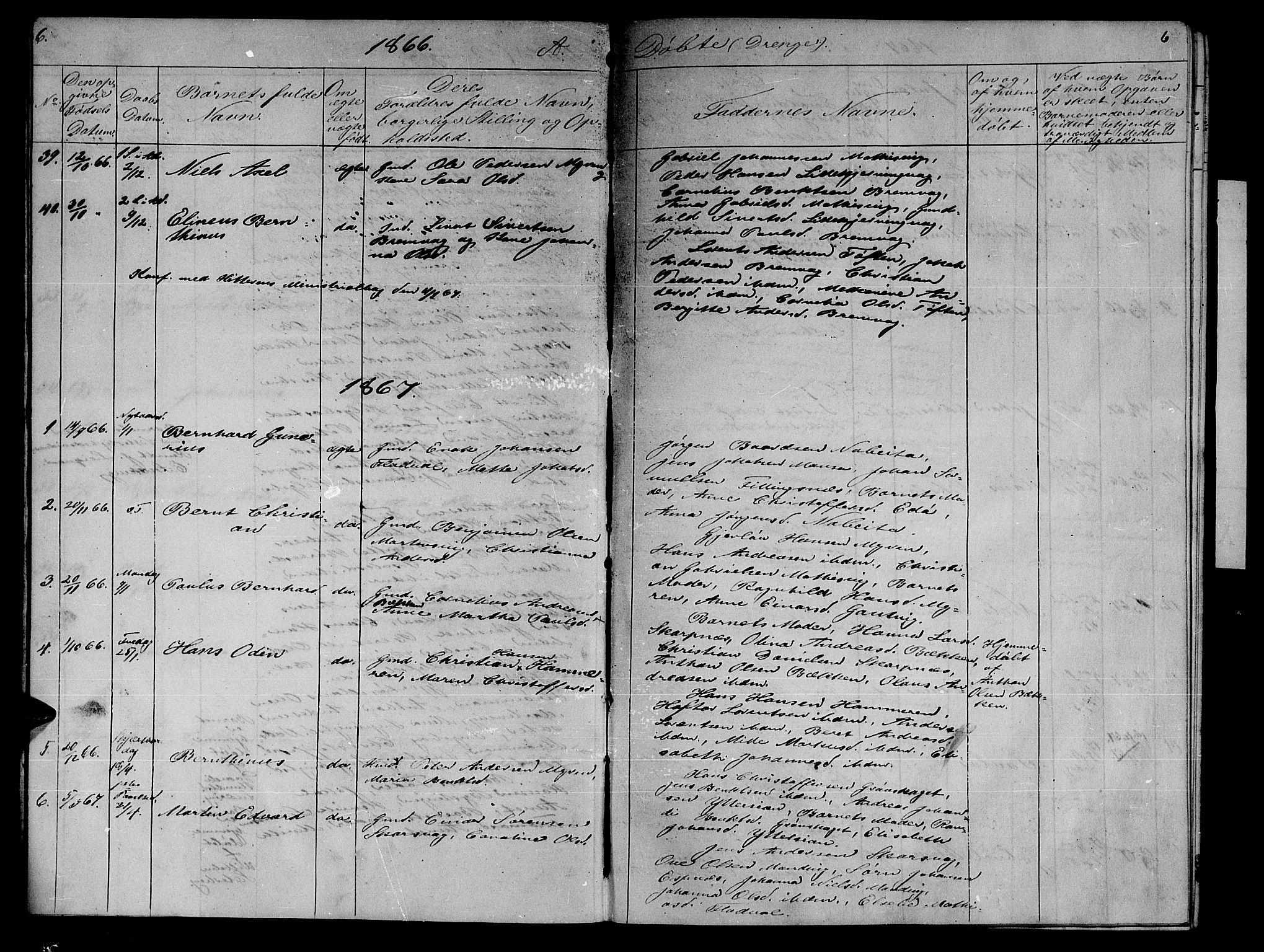 SAT, Ministerialprotokoller, klokkerbøker og fødselsregistre - Sør-Trøndelag, 634/L0539: Klokkerbok nr. 634C01, 1866-1873, s. 6